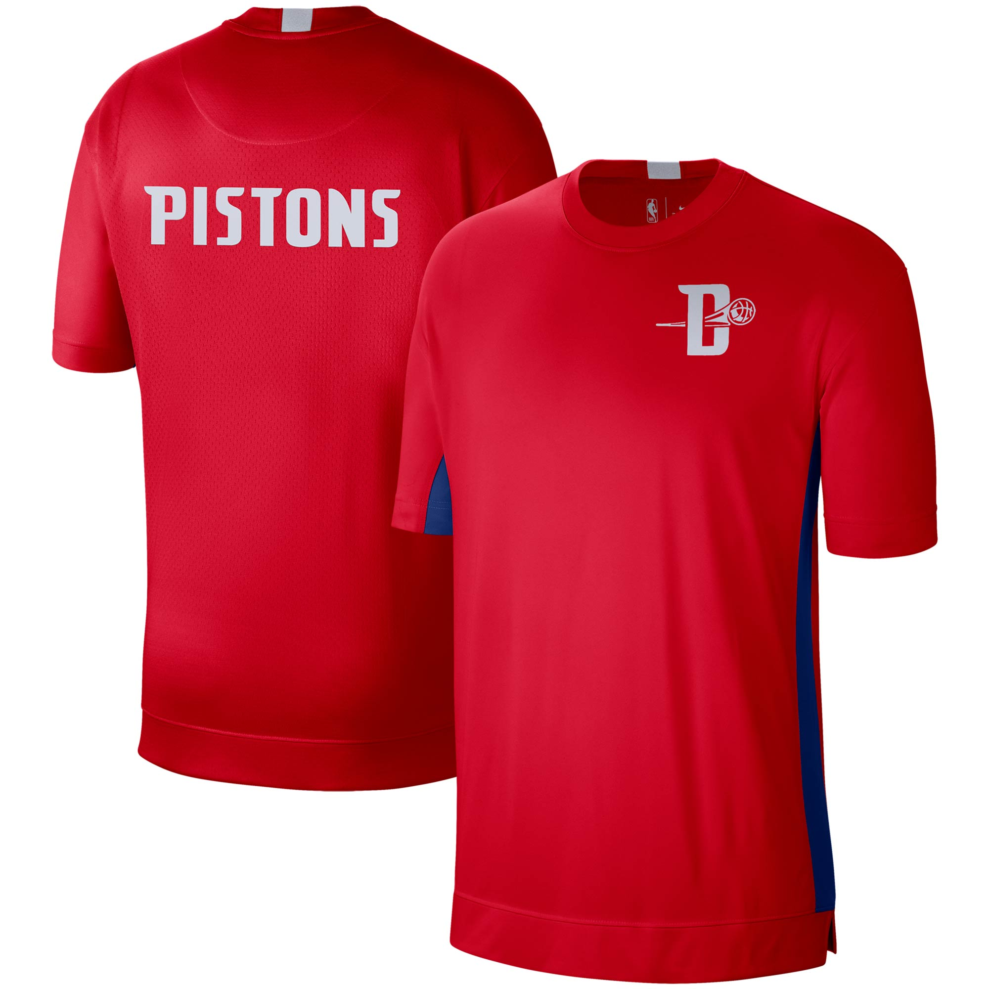 Detroit Pistons Nike City Edition 2.0 Shooting Performance T-Shirt - Red/Blue
