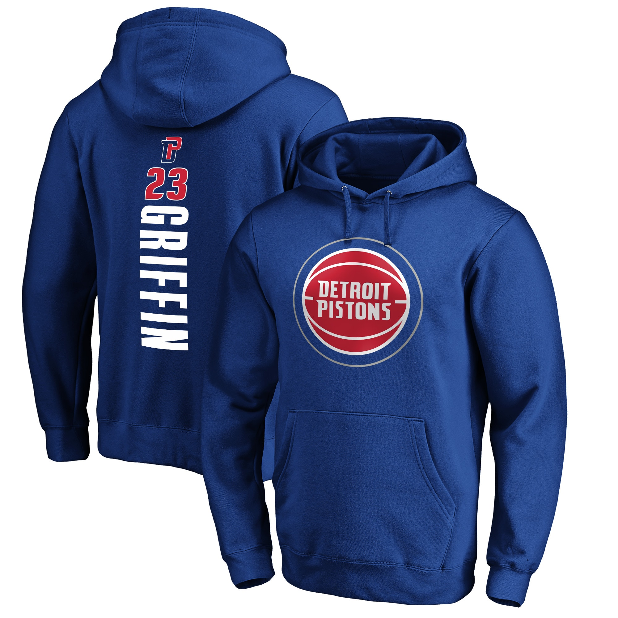 Blake Griffin Detroit Pistons Fanatics Branded Big & Tall Playmaker Name & Number Pullover Hoodie - Royal