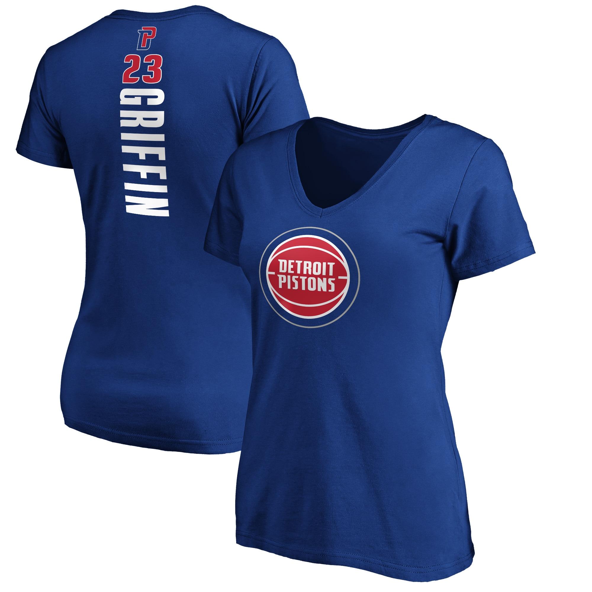 Blake Griffin Detroit Pistons Fanatics Branded Women's Plus Size Playmaker Name & Number V-Neck T-Shirt - Royal