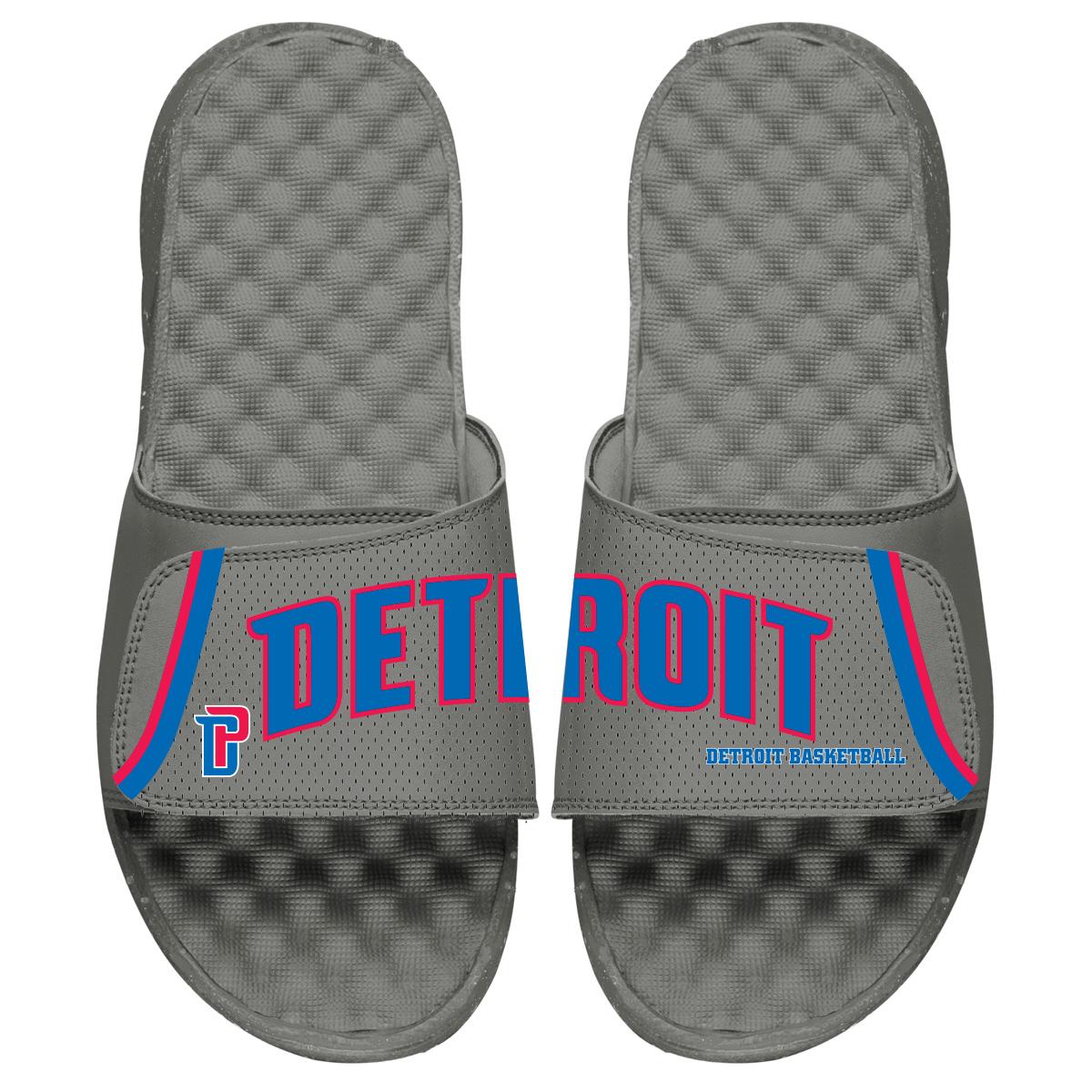 Detroit Pistons ISlide Youth Statement Jersey Split Slide Sandals - Gray