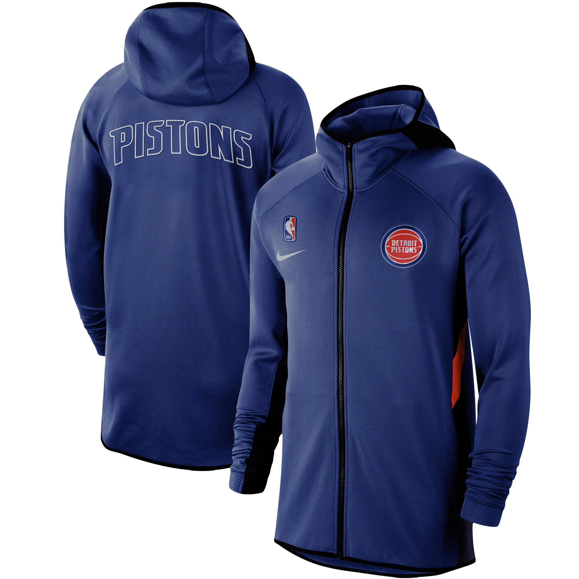 Detroit Pistons Nike Authentic Showtime Therma Flex Performance Full-Zip Hoodie - Blue