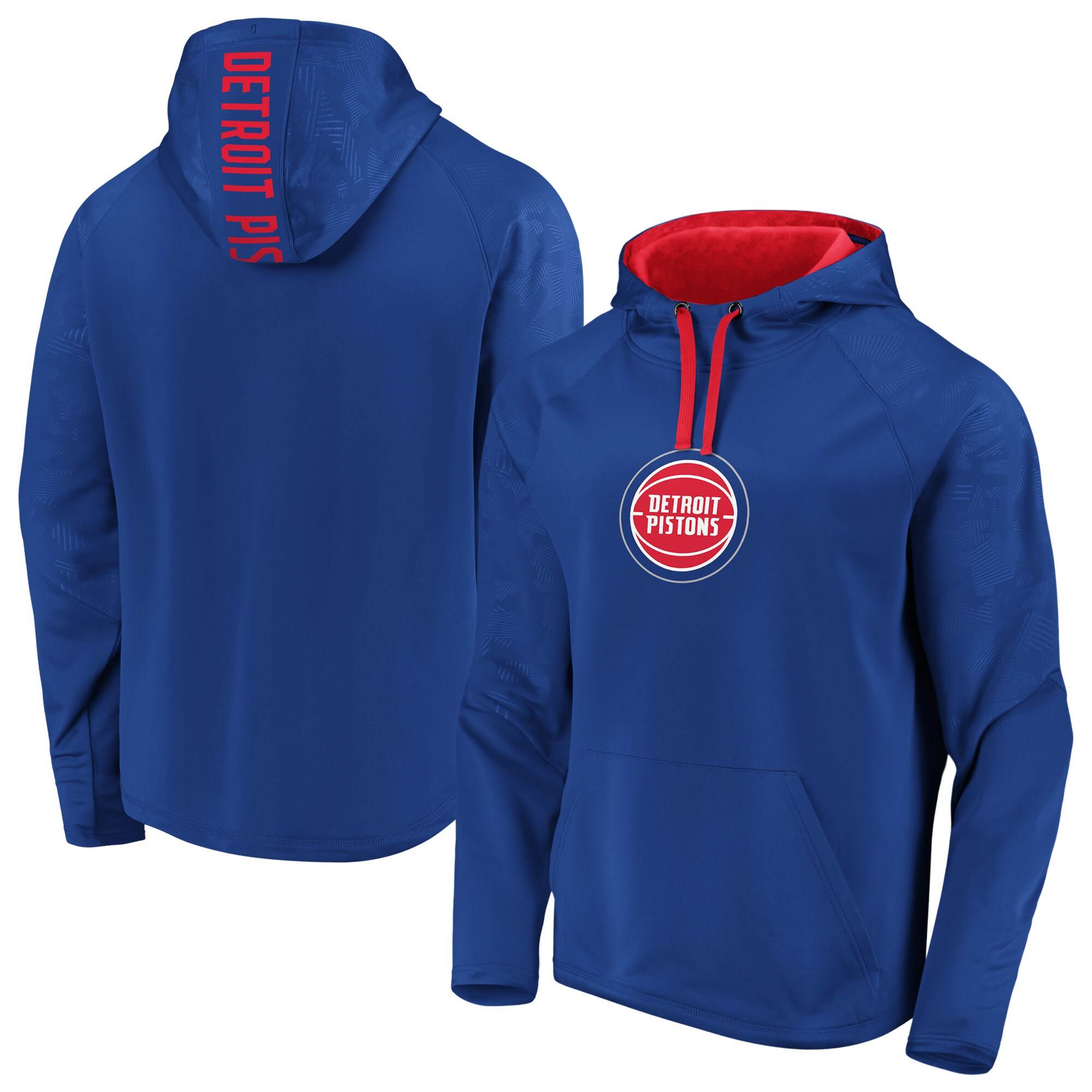 Detroit Pistons Fanatics Branded Iconic Defender Performance Primary Logo Pullover Hoodie - Blue/Red