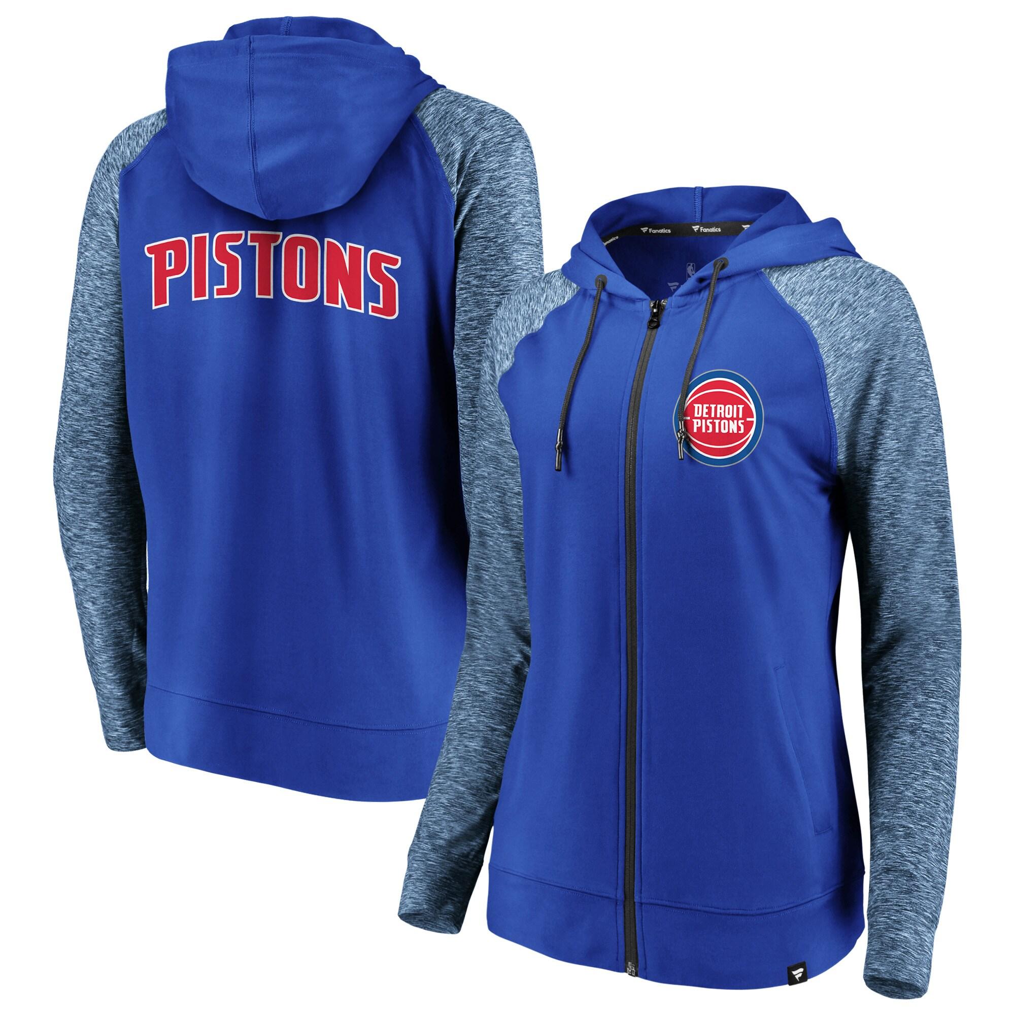 Detroit Pistons Fanatics Branded Women's Made to Move Static Raglan Performance Full-Zip Hoodie - Blue/Heathered Blue