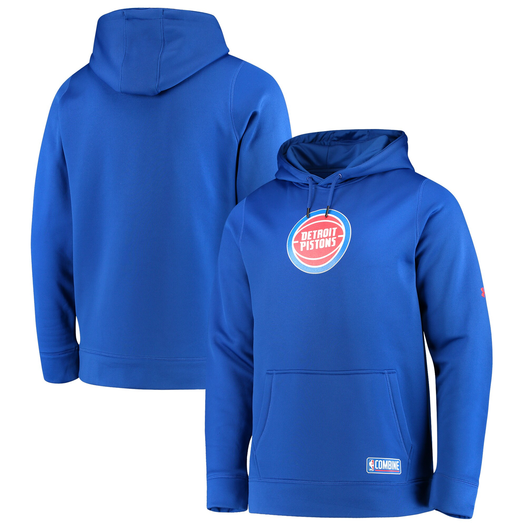 Detroit Pistons Under Armour Team Logo Performance Fleece Pullover Hoodie - Blue