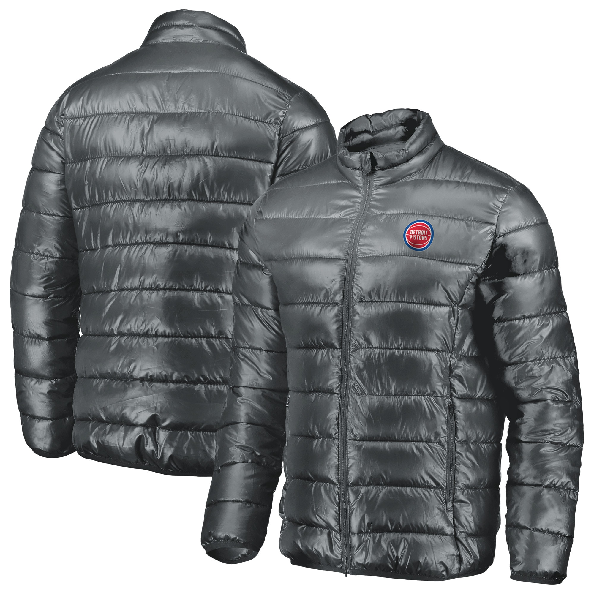 Detroit Pistons Fanatics Branded Heater Puffer Full-Zip Jacket - Gray