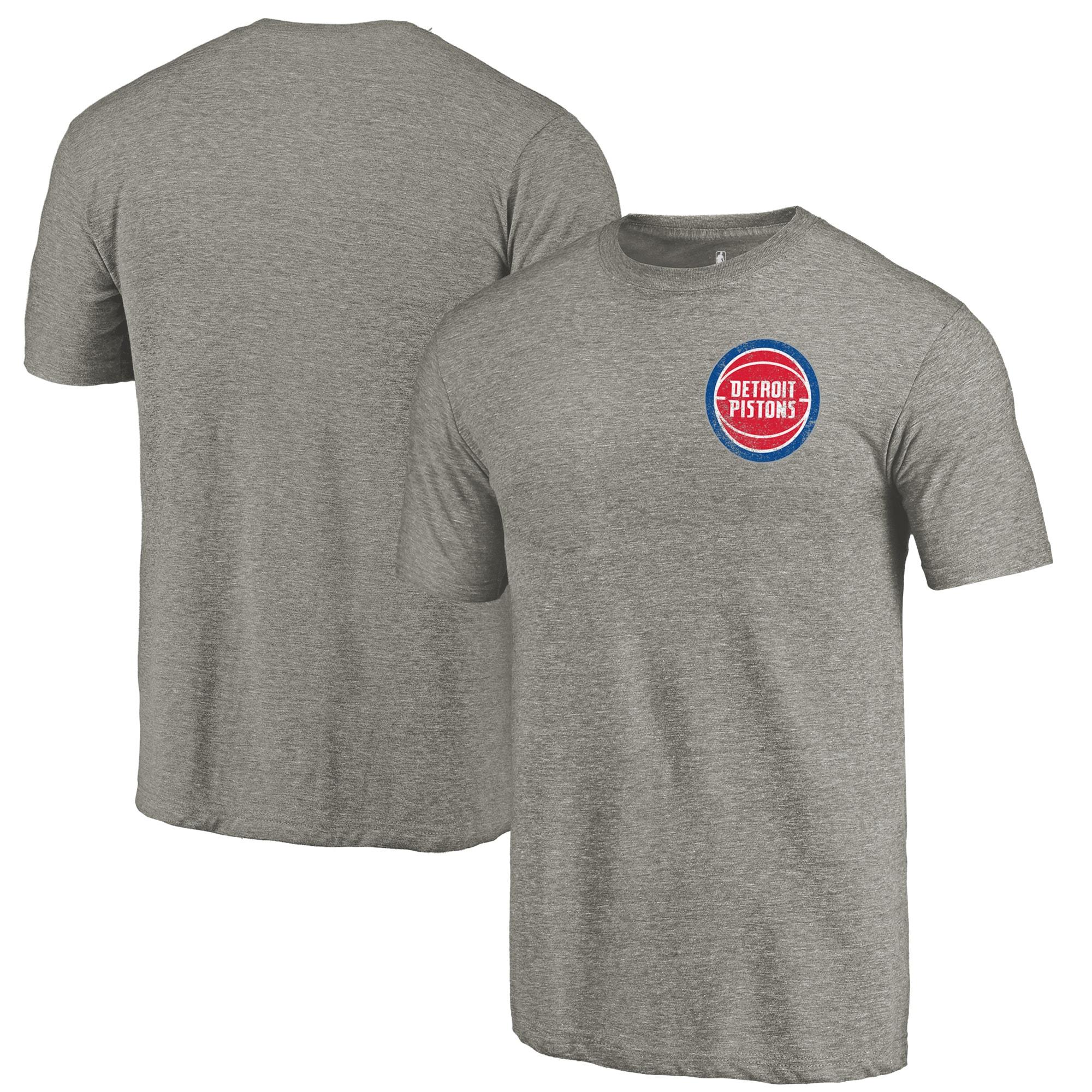 Detroit Pistons Fanatics Branded Primary Logo Left Chest Distressed Tri-Blend T-Shirt - Gray