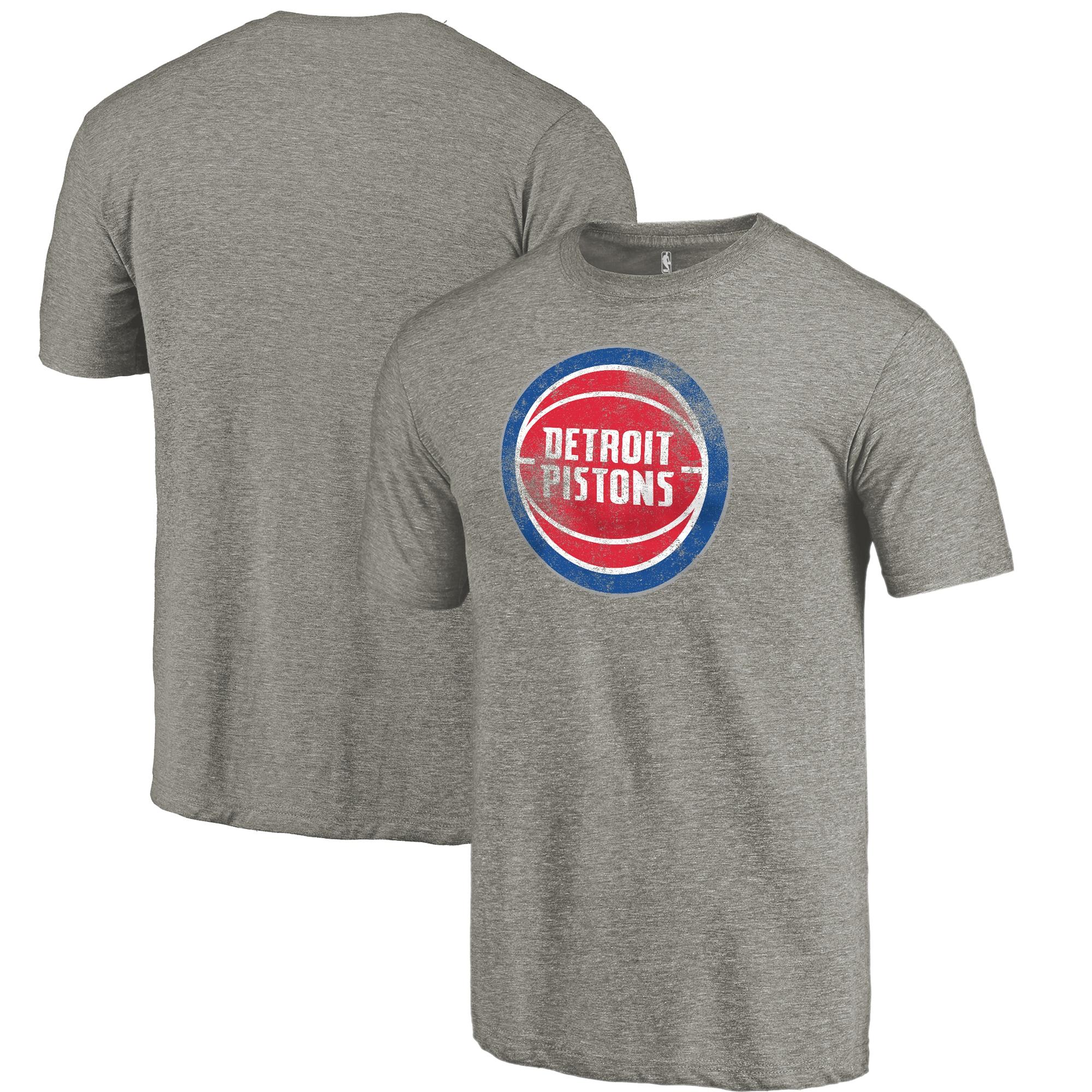 Detroit Pistons Fanatics Branded Distressed Team Logo Tri-Blend T-Shirt - Heather Gray