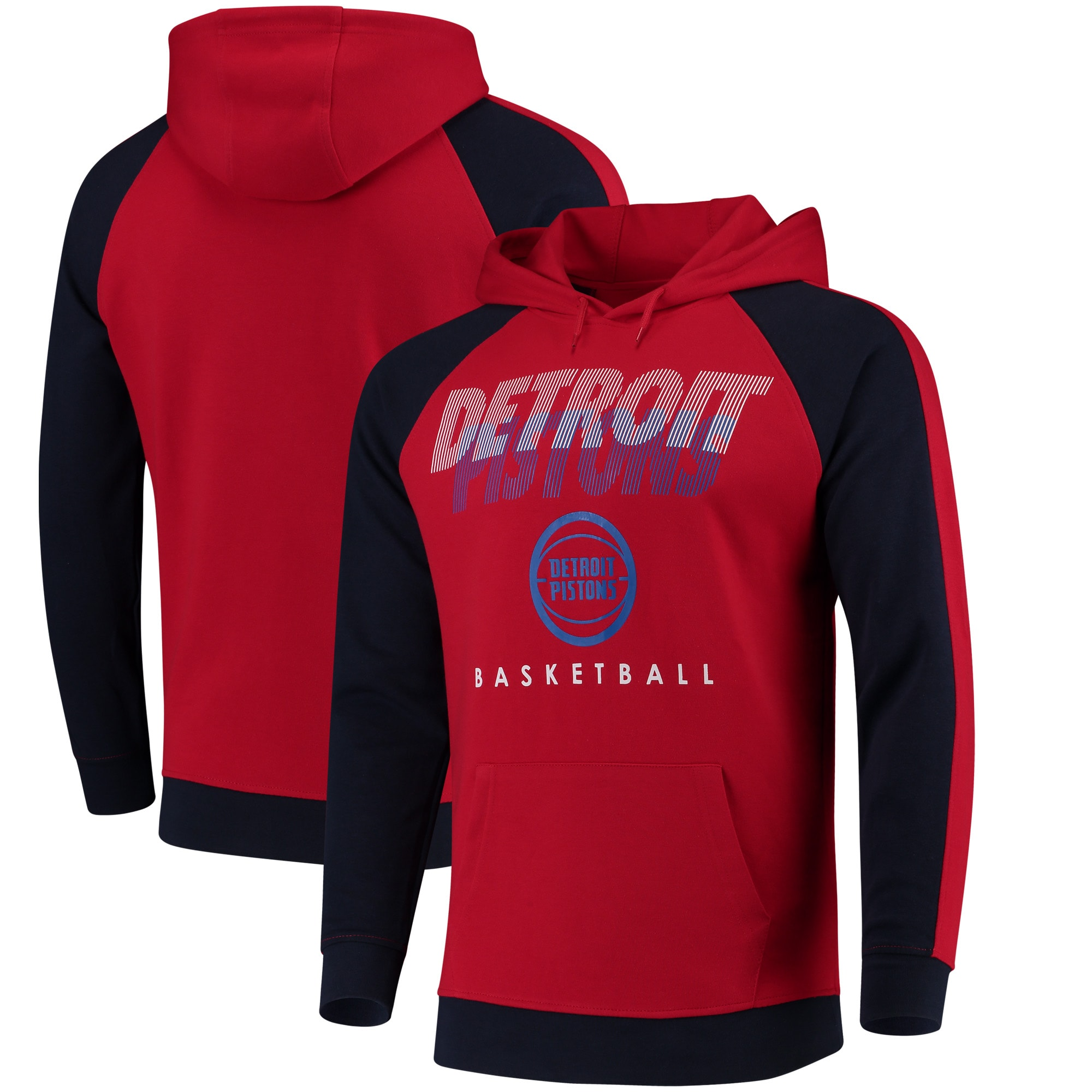 Detroit Pistons UNK Drill Pullover Hoodie - Red
