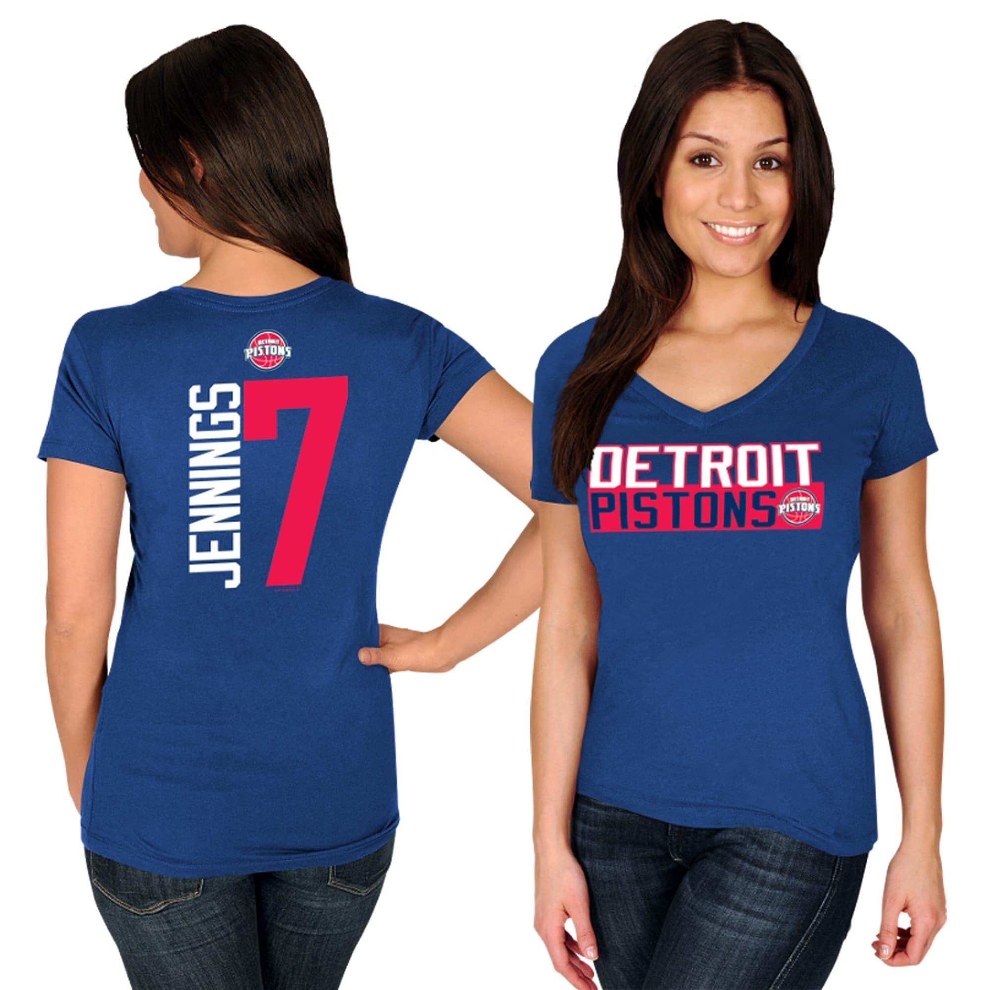 Brandon Jennings Detroit Pistons Majestic Women's Name & Number V-Neck T-Shirt - Royal