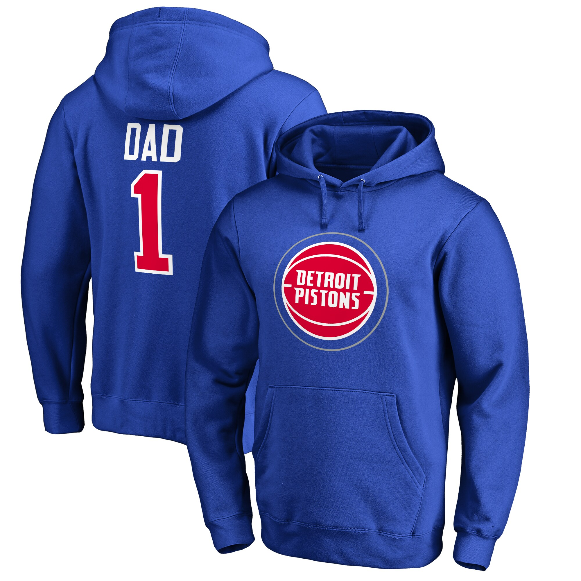 Detroit Pistons #1 Dad Pullover Hoodie - Royal