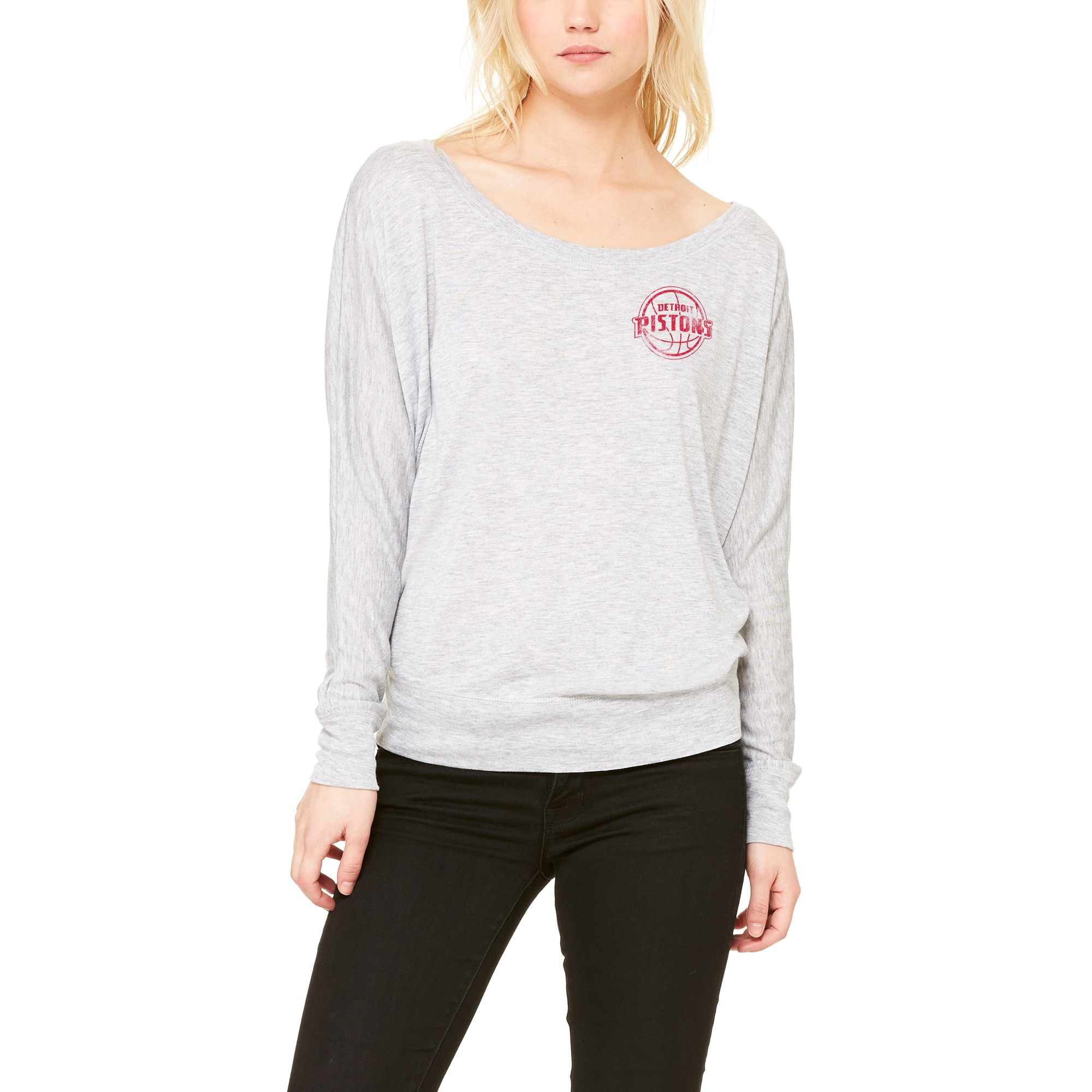 Detroit Pistons Let Loose by RNL Women's Winning Off-Shoulder Long Sleeve T-Shirt - Heathered Gray