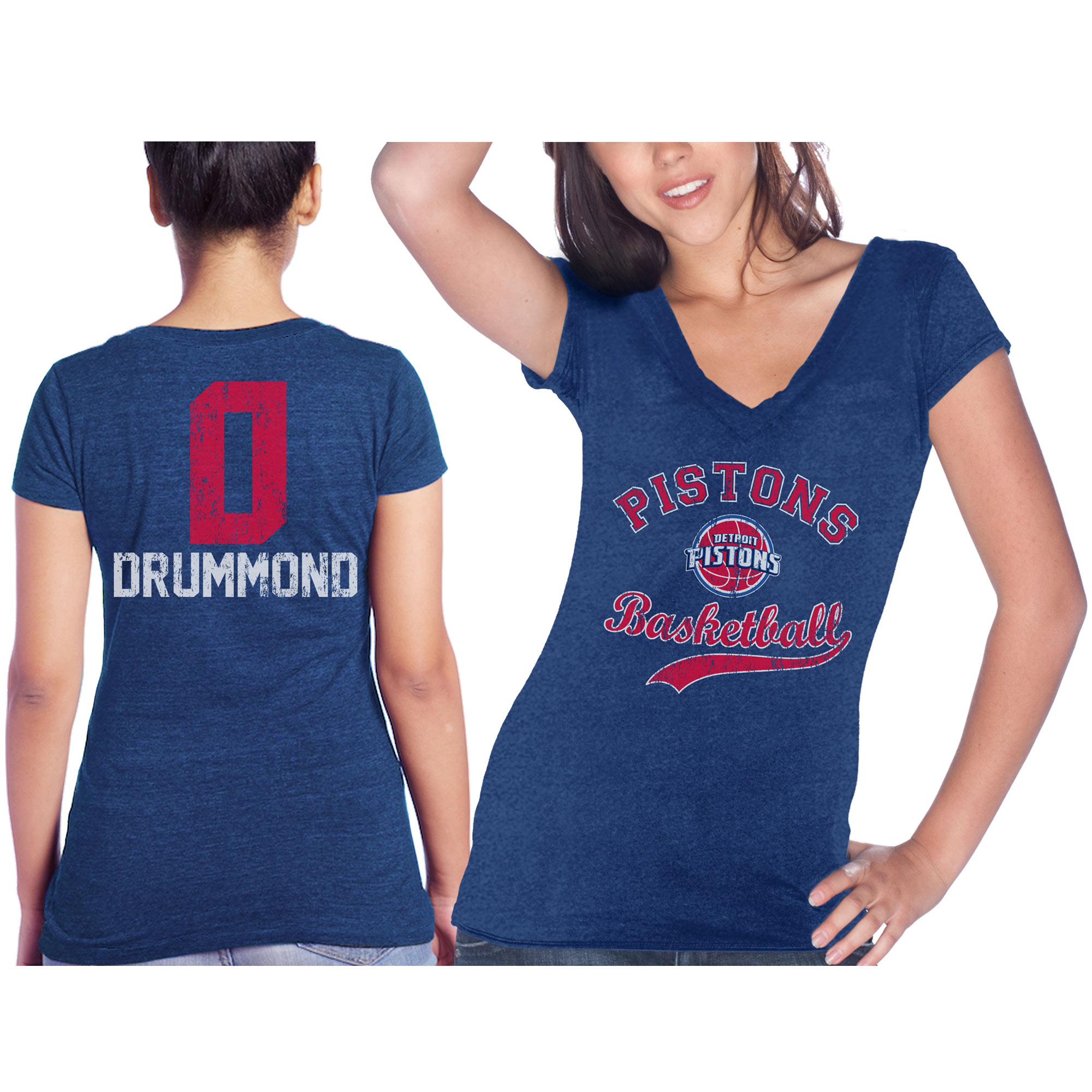 Detroit Pistons Andre Drummond Majestic Threads Women's Name & Number Tri-Blend V-Neck T-Shirt - Blue