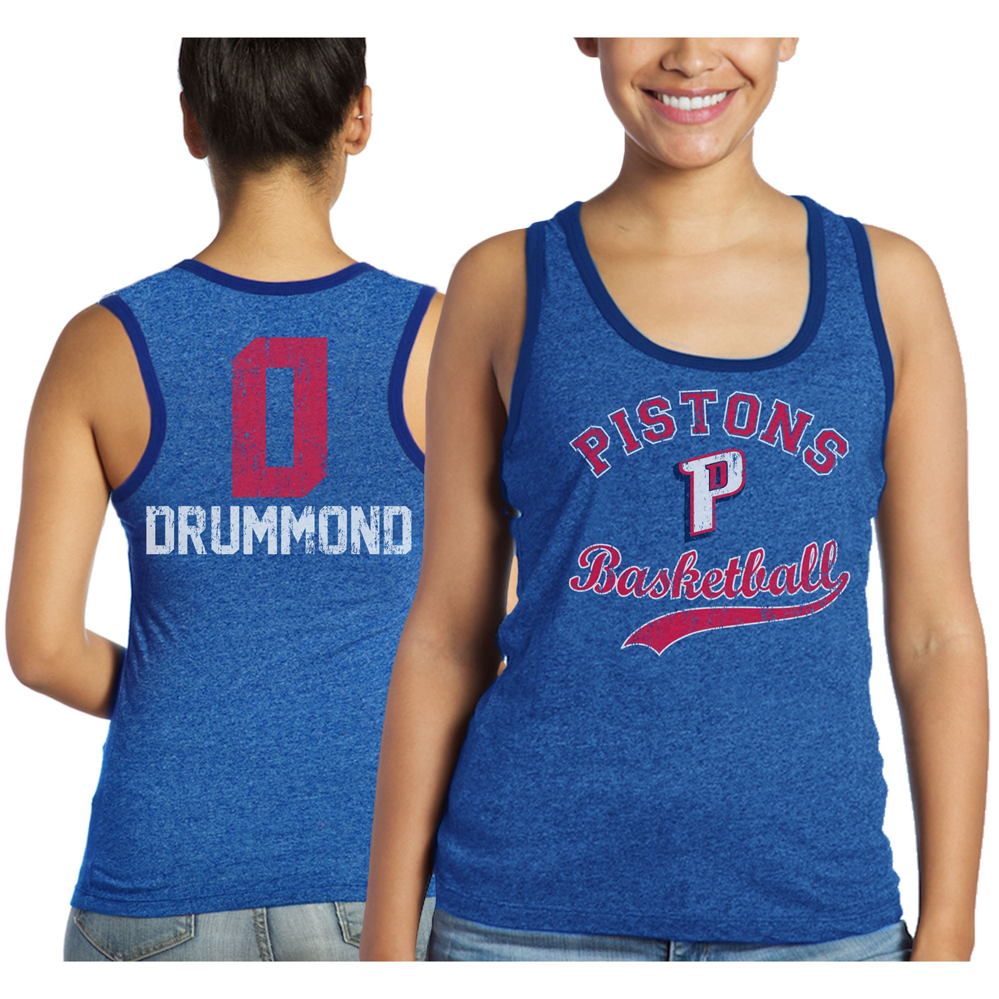 Andre Drummond Detroit Pistons Majestic Threads Women's Name and Number Tri-Blend Tank Top - Blue