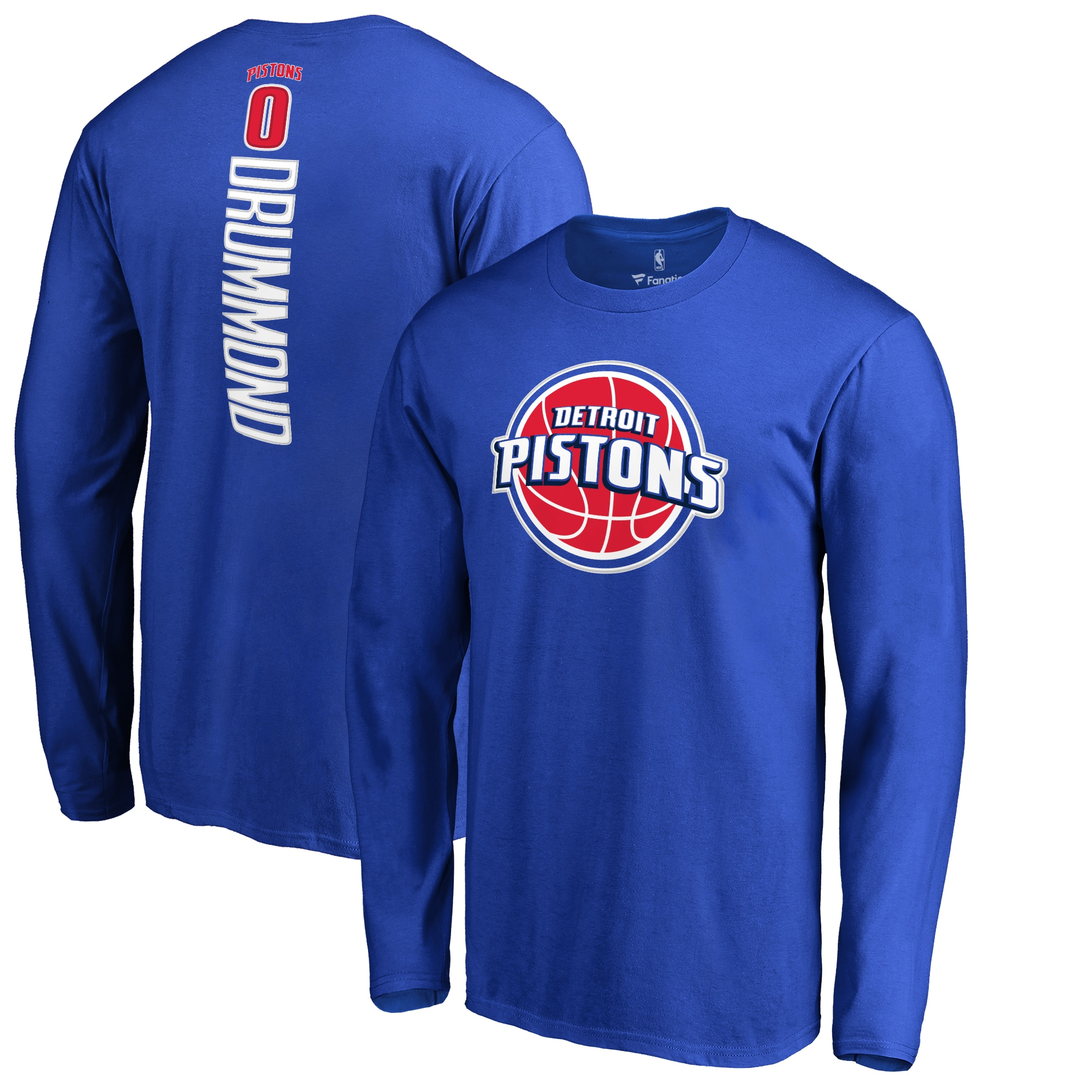 Andre Drummond Detroit Pistons Backer Name & Number Long Sleeve T-Shirt - Royal