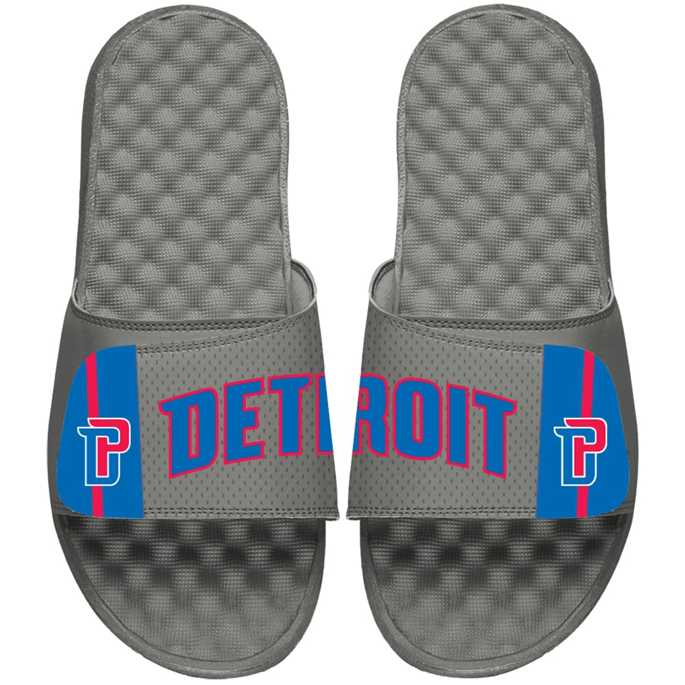 Detroit Pistons ISlide Youth Statement Jersey Slide Sandals - Gray