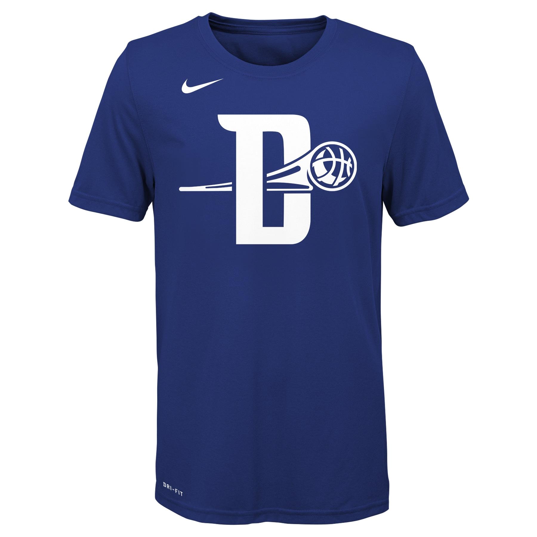 Detroit Pistons Nike Youth 2019/20 City Edition Logo T-Shirt - Blue
