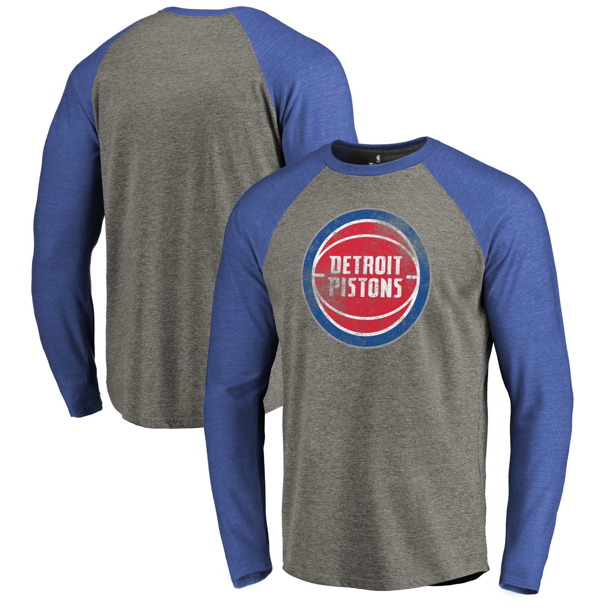 Detroit Pistons Fanatics Branded Distressed Logo Tri-Blend Raglan Long Sleeve T-Shirt - Ash/Royal