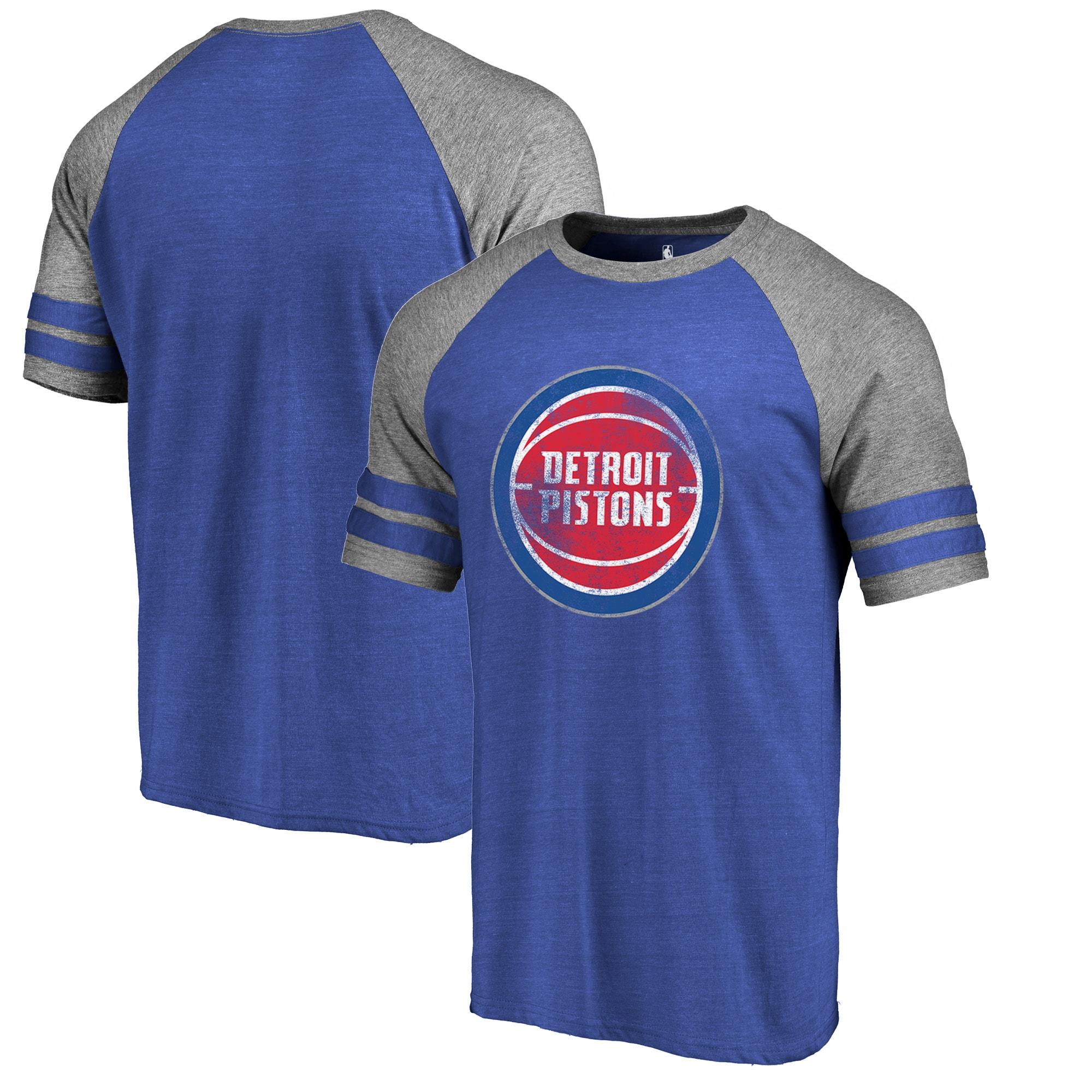 Detroit Pistons Fanatics Branded Distressed Logo Raglan Tri-Blend T-Shirt - Royal