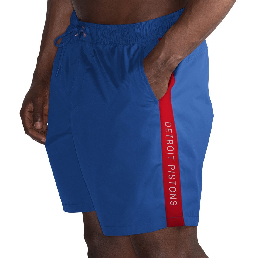 Detroit Pistons G-III Sports by Carl Banks Volley Swim Trunks - Blue/Red