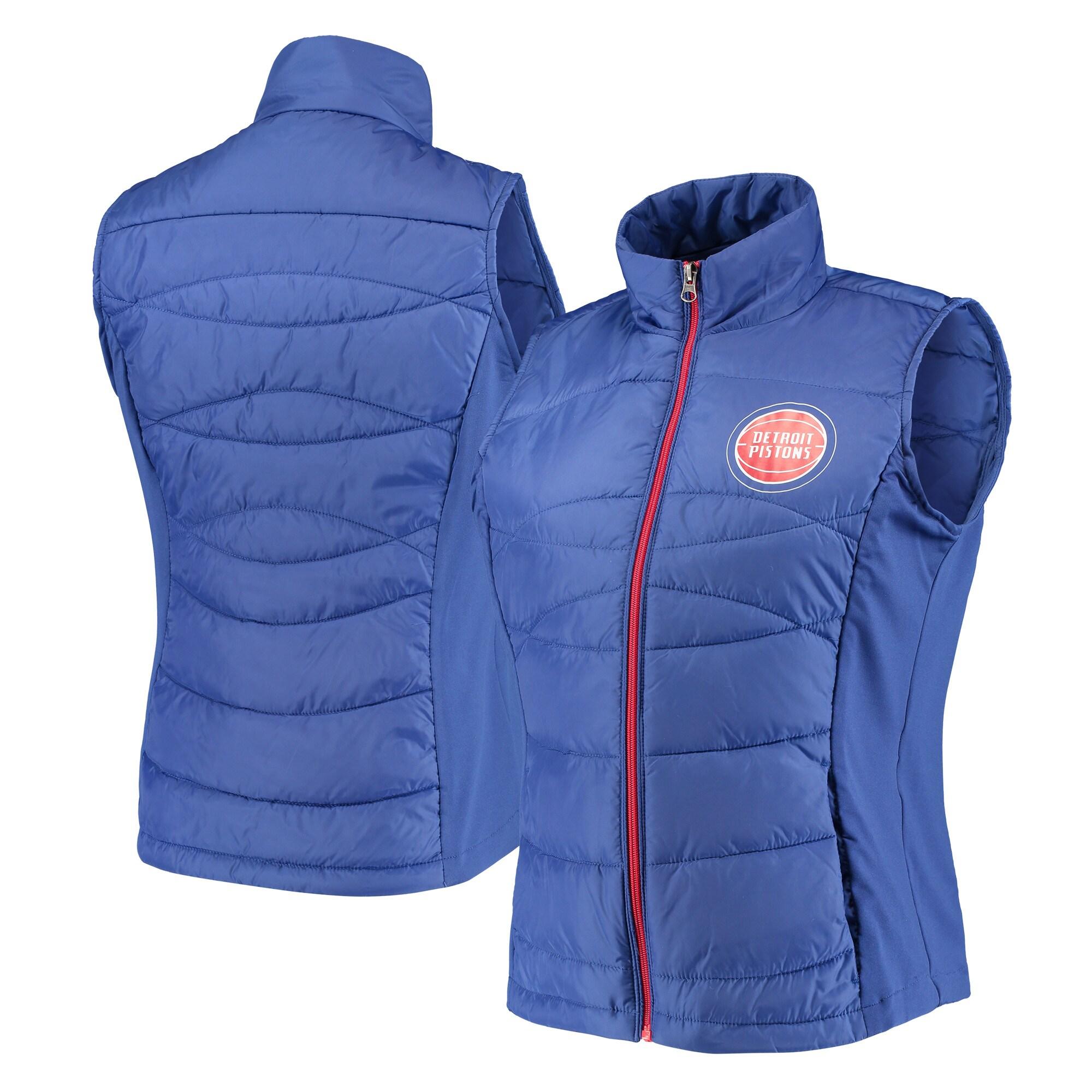 Detroit Pistons G-III 4Her by Carl Banks Women's Wing Back Lightweight Polyfill Vest - Blue