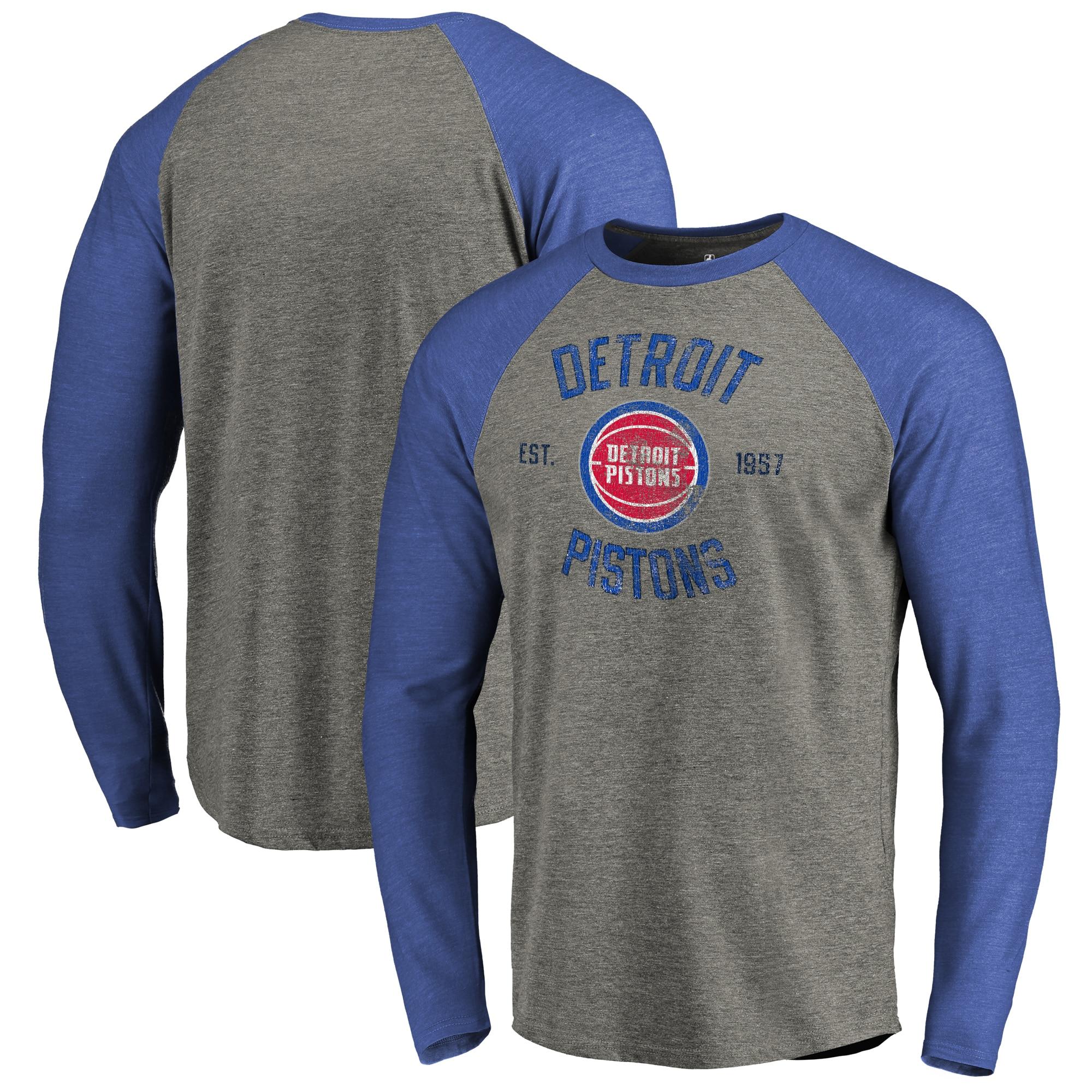 Detroit Pistons Fanatics Branded Heritage Big and Tall Long Sleeve Tri-Blend Raglan T-Shirt - Heathered Gray