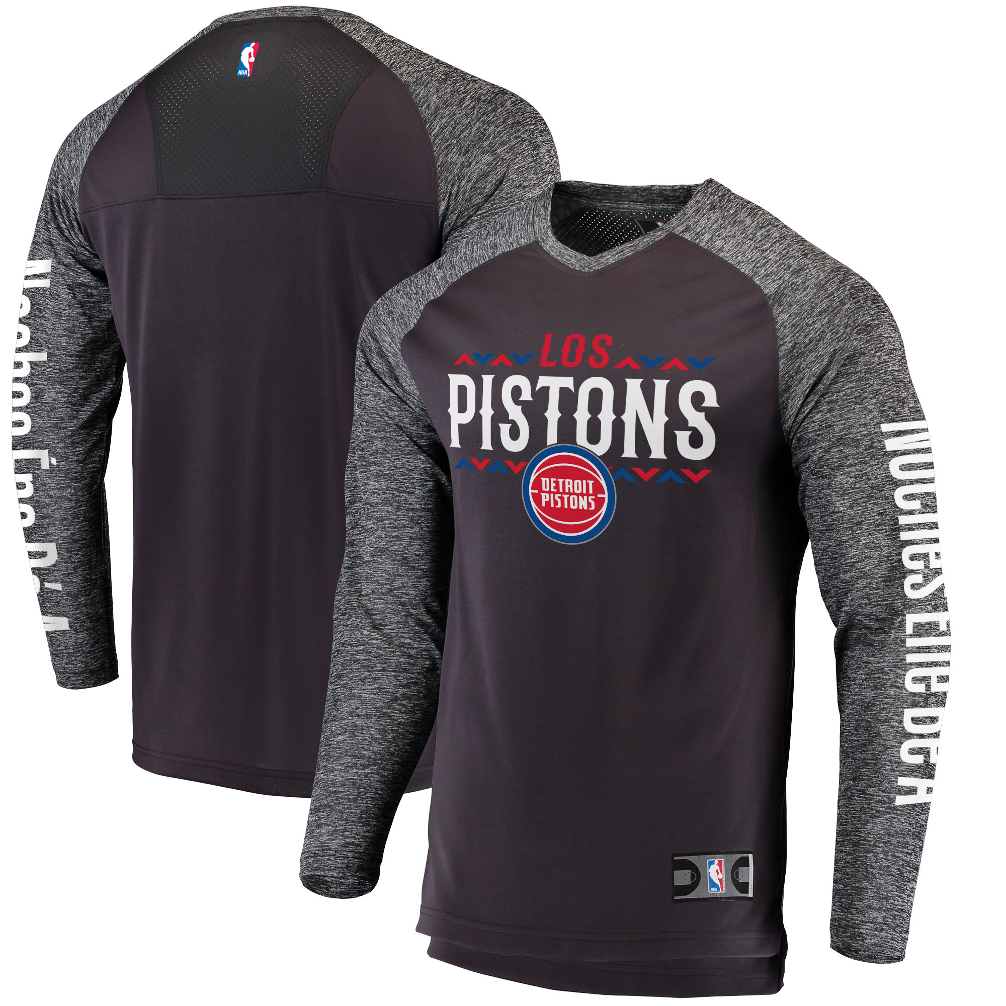 Detroit Pistons Fanatics Branded Noches Ene-Be-A Authentic Long Sleeve Shooting Shirt - Black/Heathered Gray