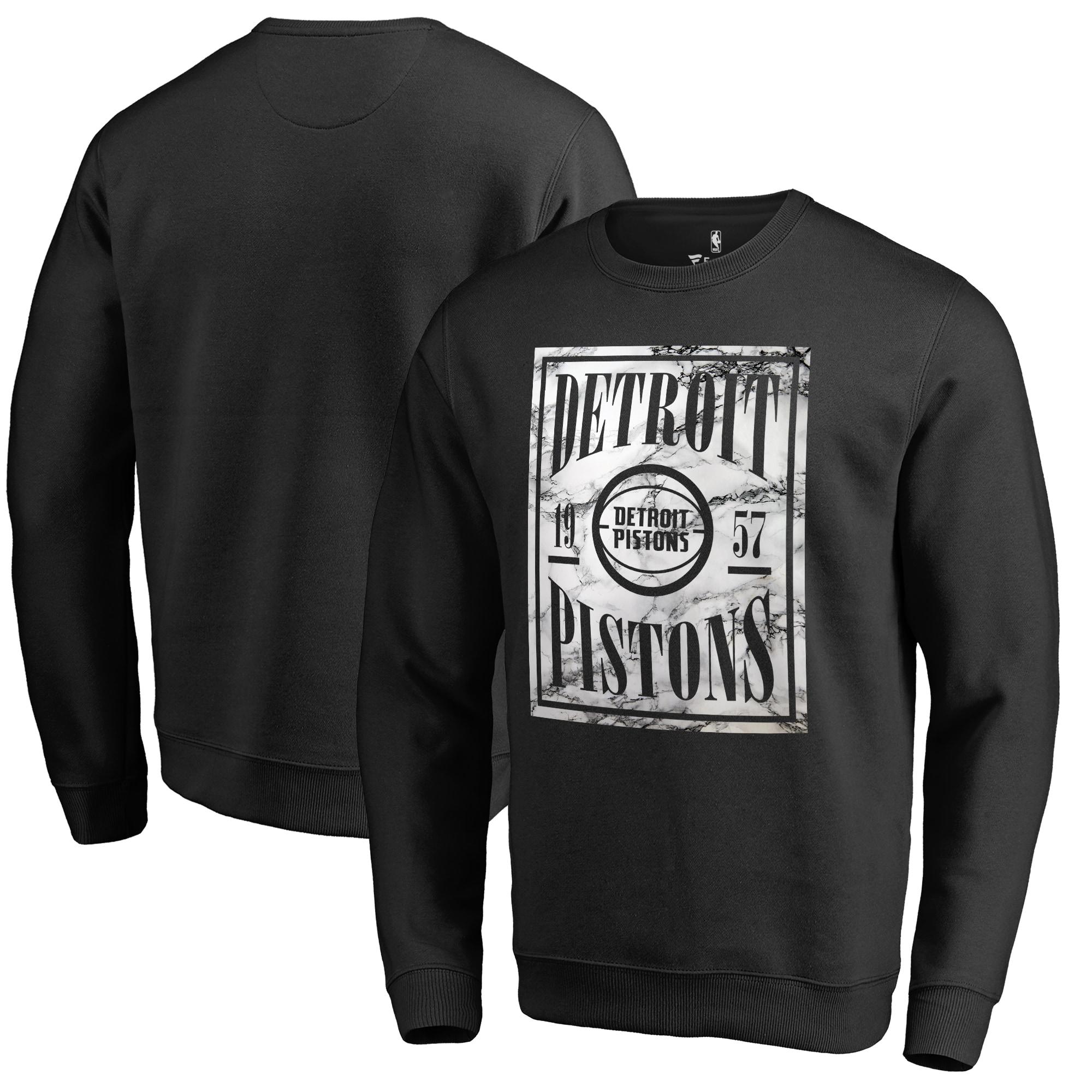 Detroit Pistons Fanatics Branded Court Vision Crew Sweatshirt - Black