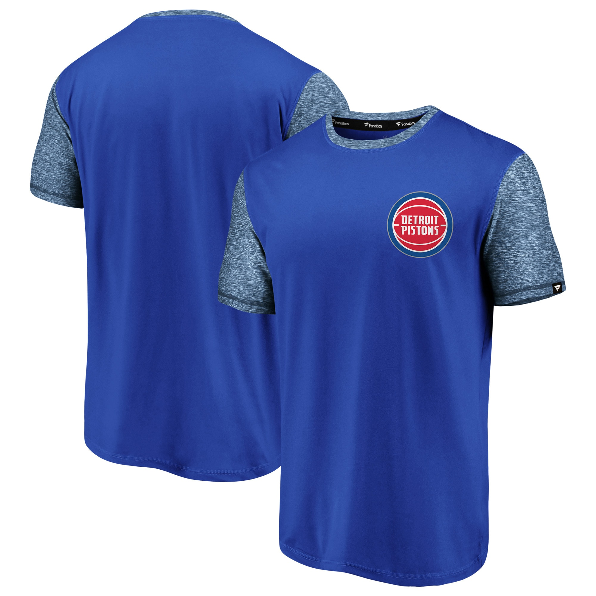 Detroit Pistons Fanatics Branded Made to Move Static Performance T-Shirt - Blue/Heathered Blue
