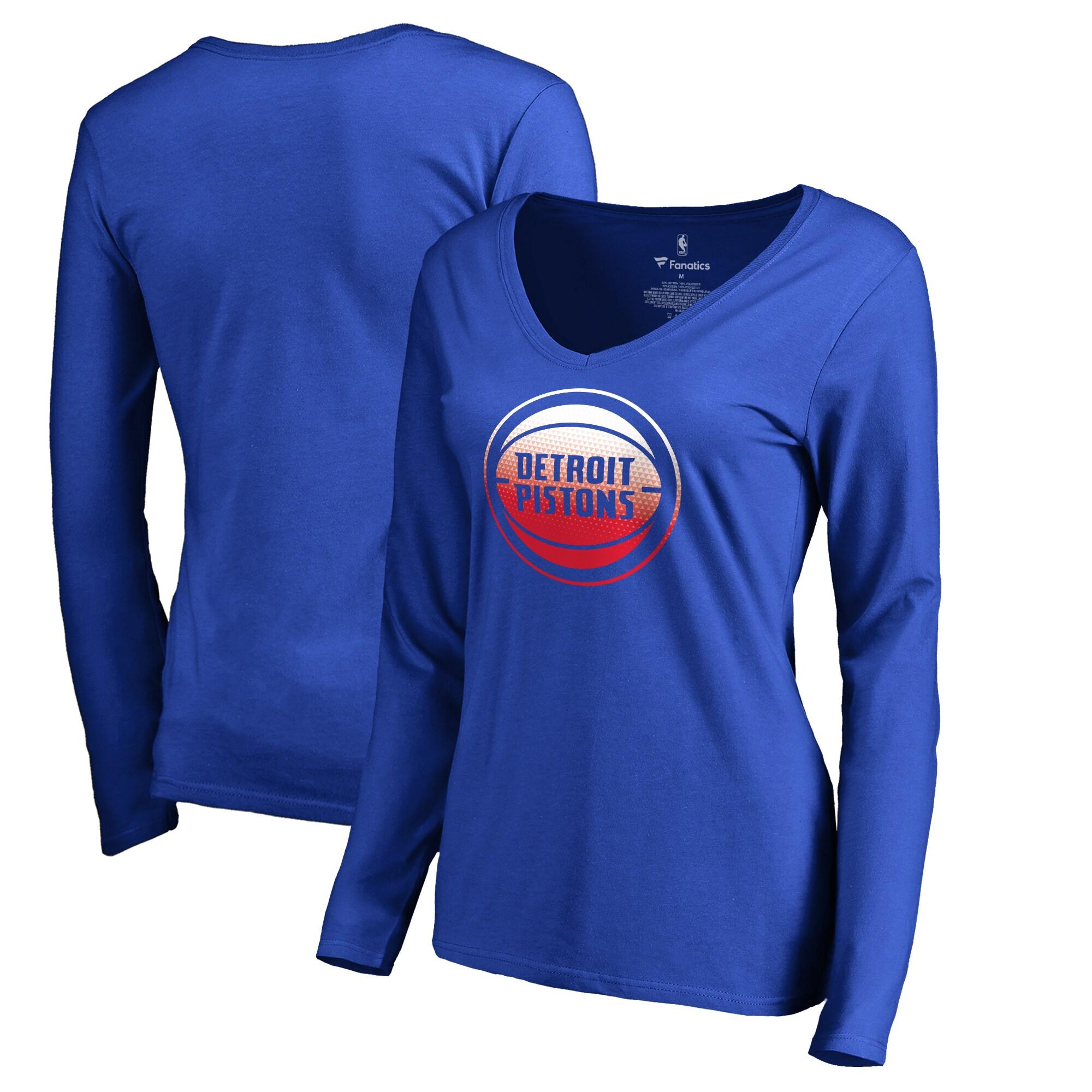 Detroit Pistons Fanatics Branded Women's Plus Sizes Gradient Logo Long Sleeve T-Shirt - Royal