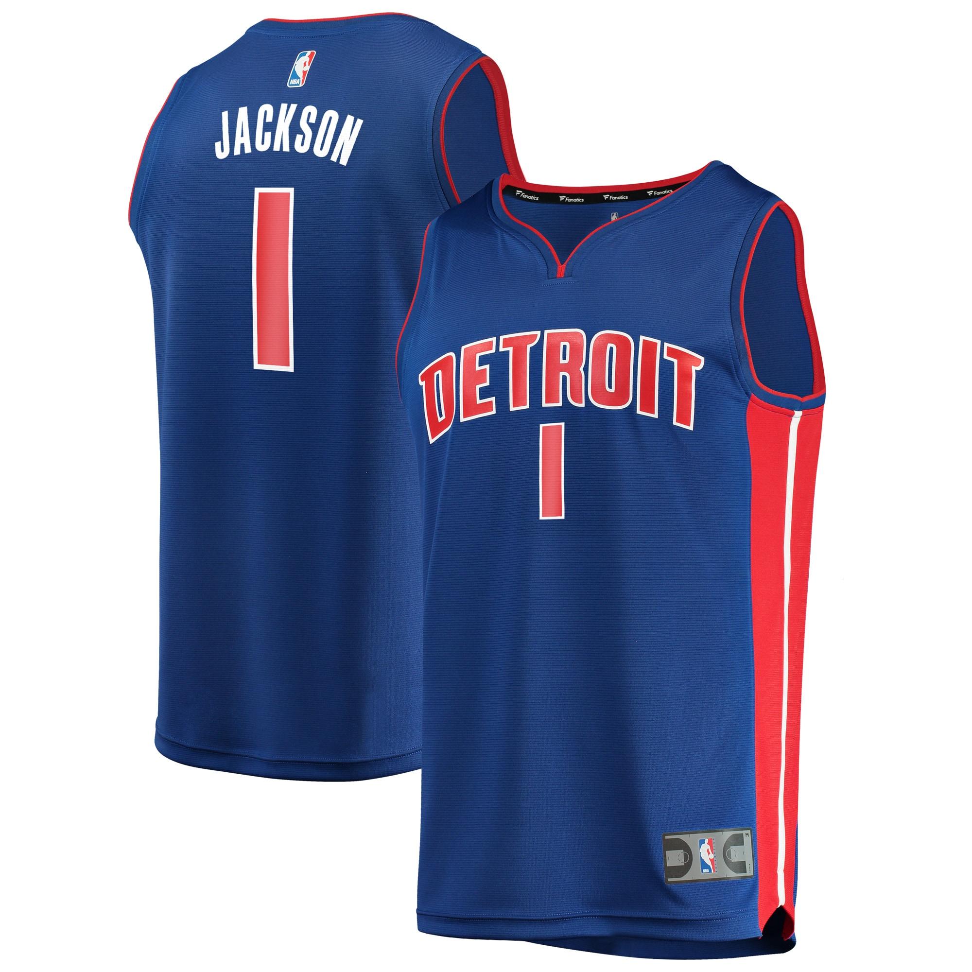 Reggie Jackson Detroit Pistons Fanatics Branded Fast Break Replica Jersey Royal - Icon Edition