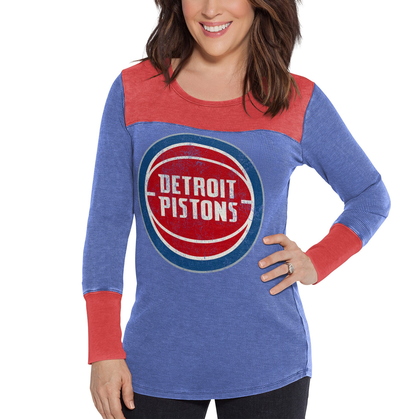 Detroit Pistons G-III Sports by Carl Banks Women's Blindside Long Sleeve Thermal T-Shirt - Blue/Red
