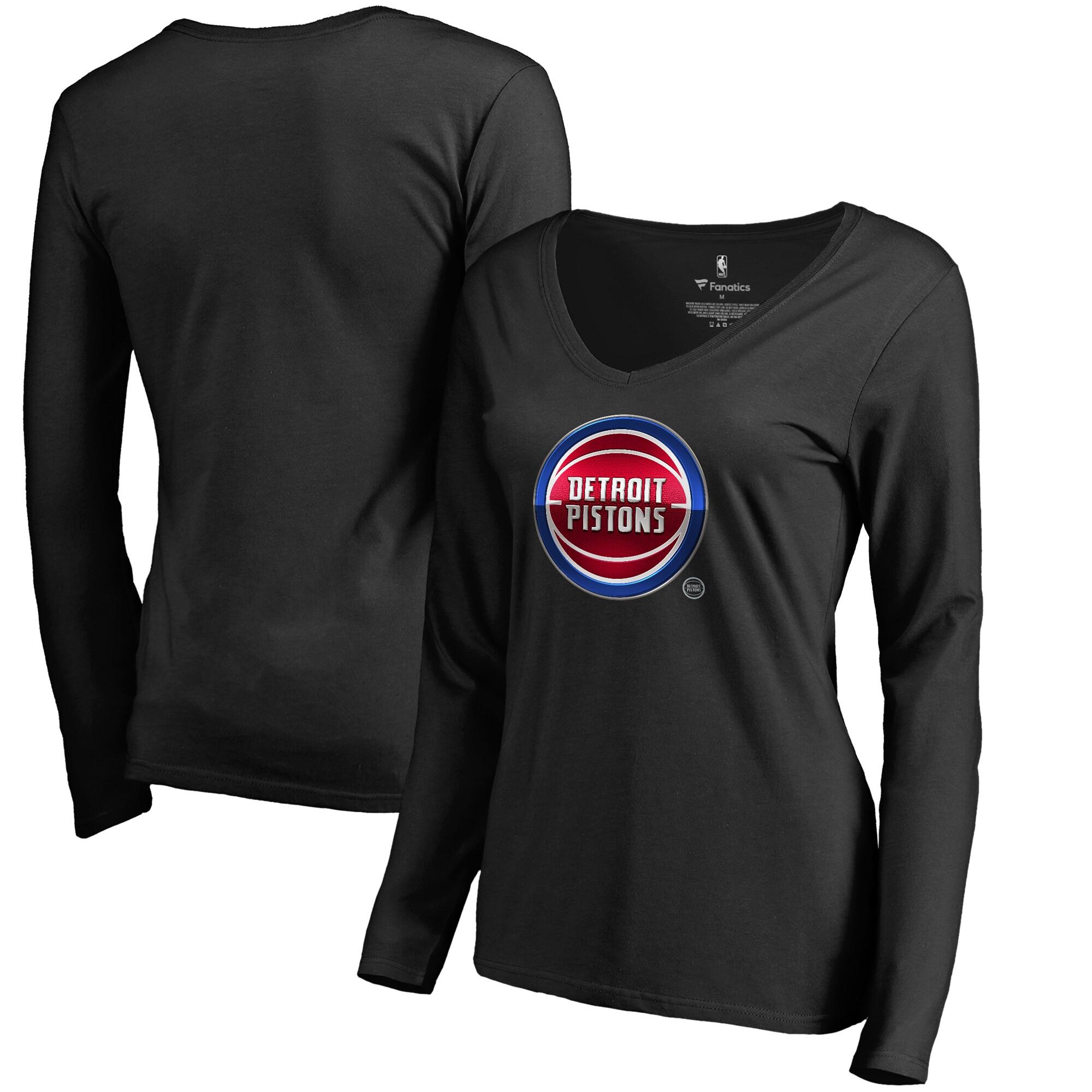 Detroit Pistons Fanatics Branded Women's Midnight Mascot Long Sleeve V-Neck T-Shirt - Black