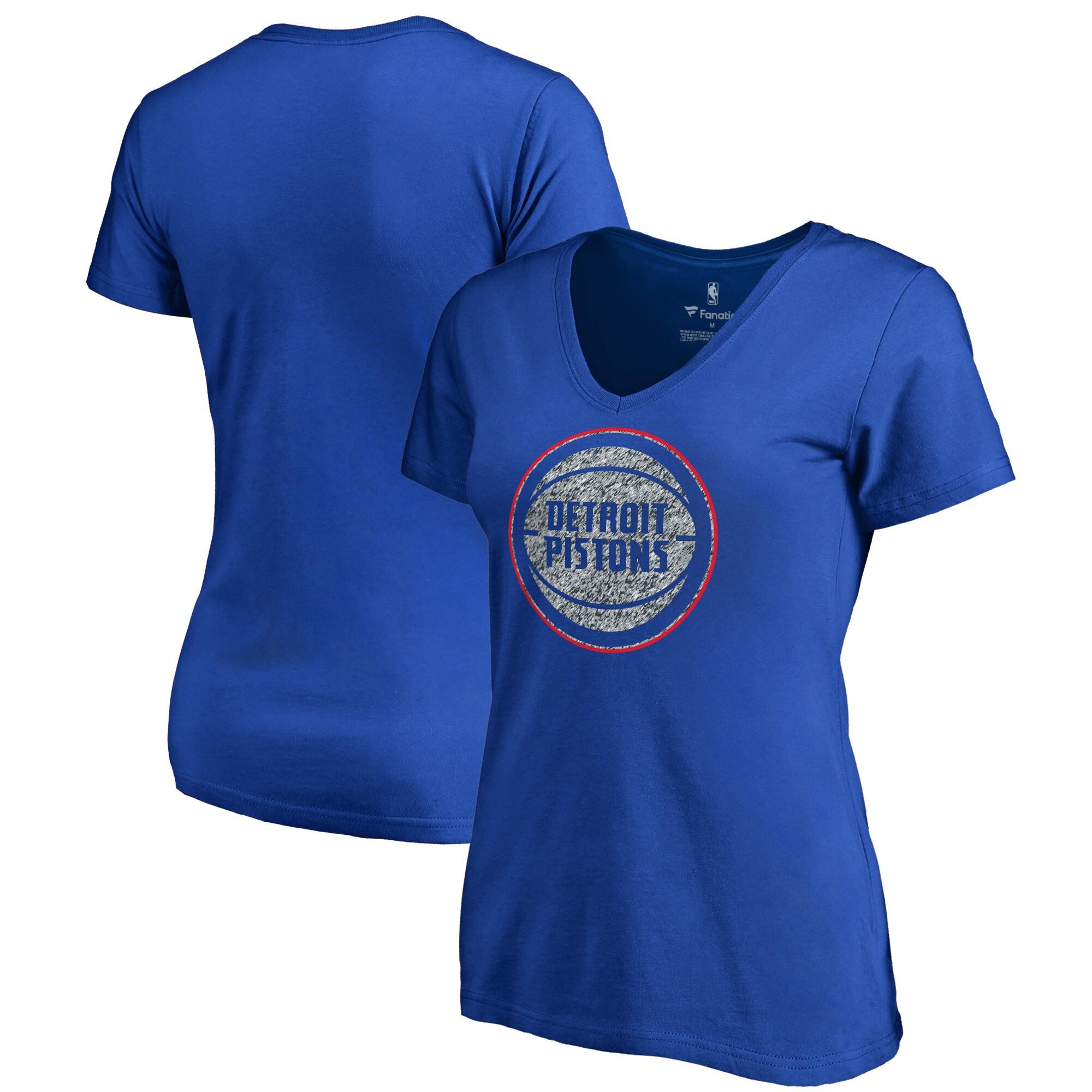 Detroit Pistons Fanatics Branded Women's Static Logo V-Neck T-Shirt - Royal