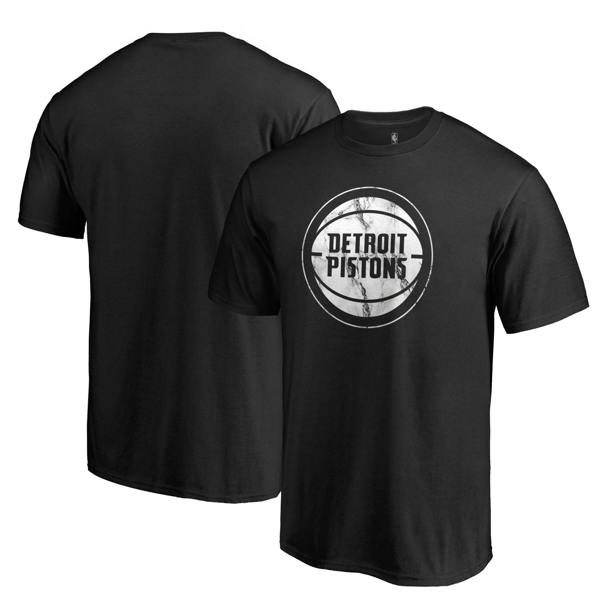Detroit Pistons Fanatics Branded Marble Logo Big & Tall T-Shirt - Black