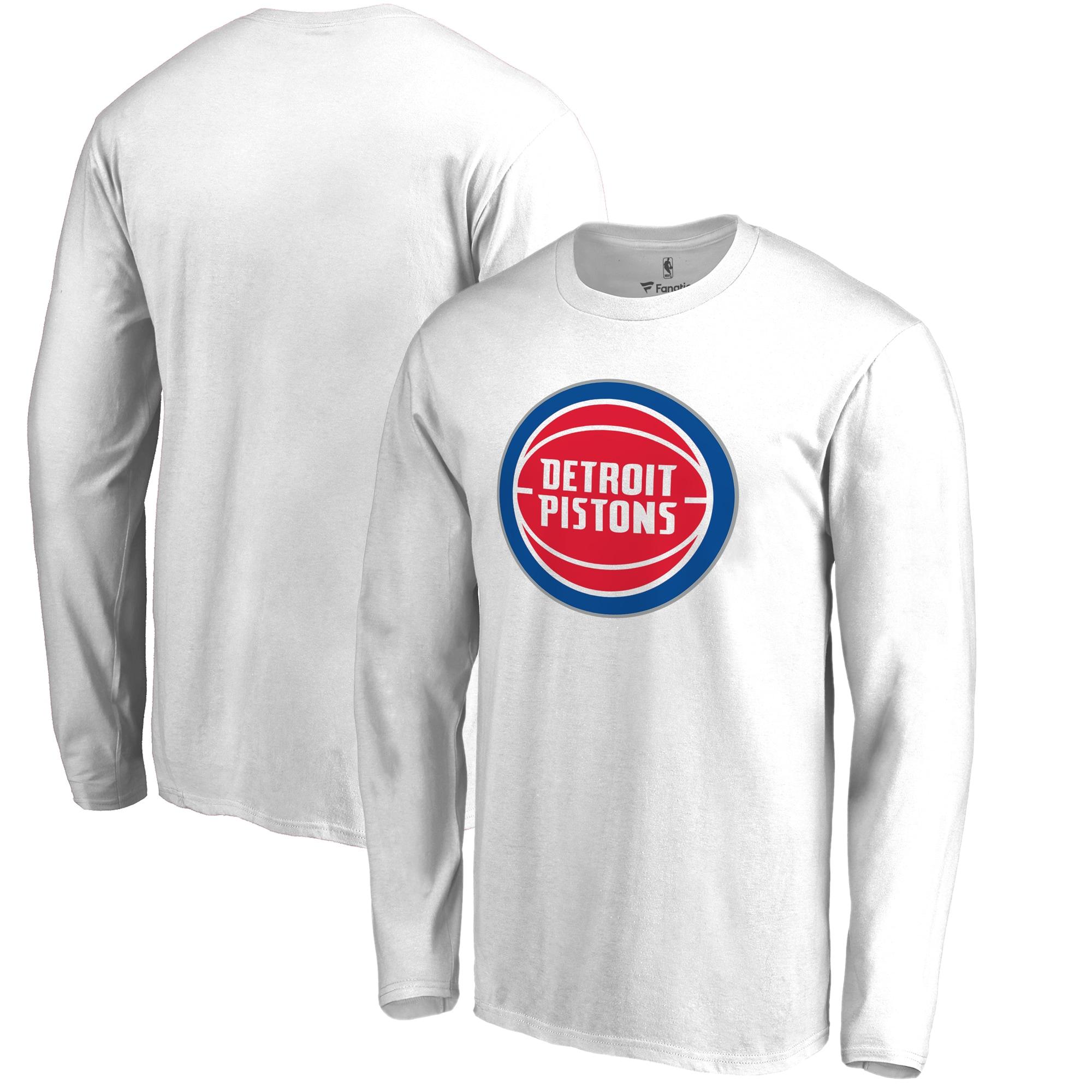 Detroit Pistons Fanatics Branded Primary Logo Long Sleeve T-Shirt - White