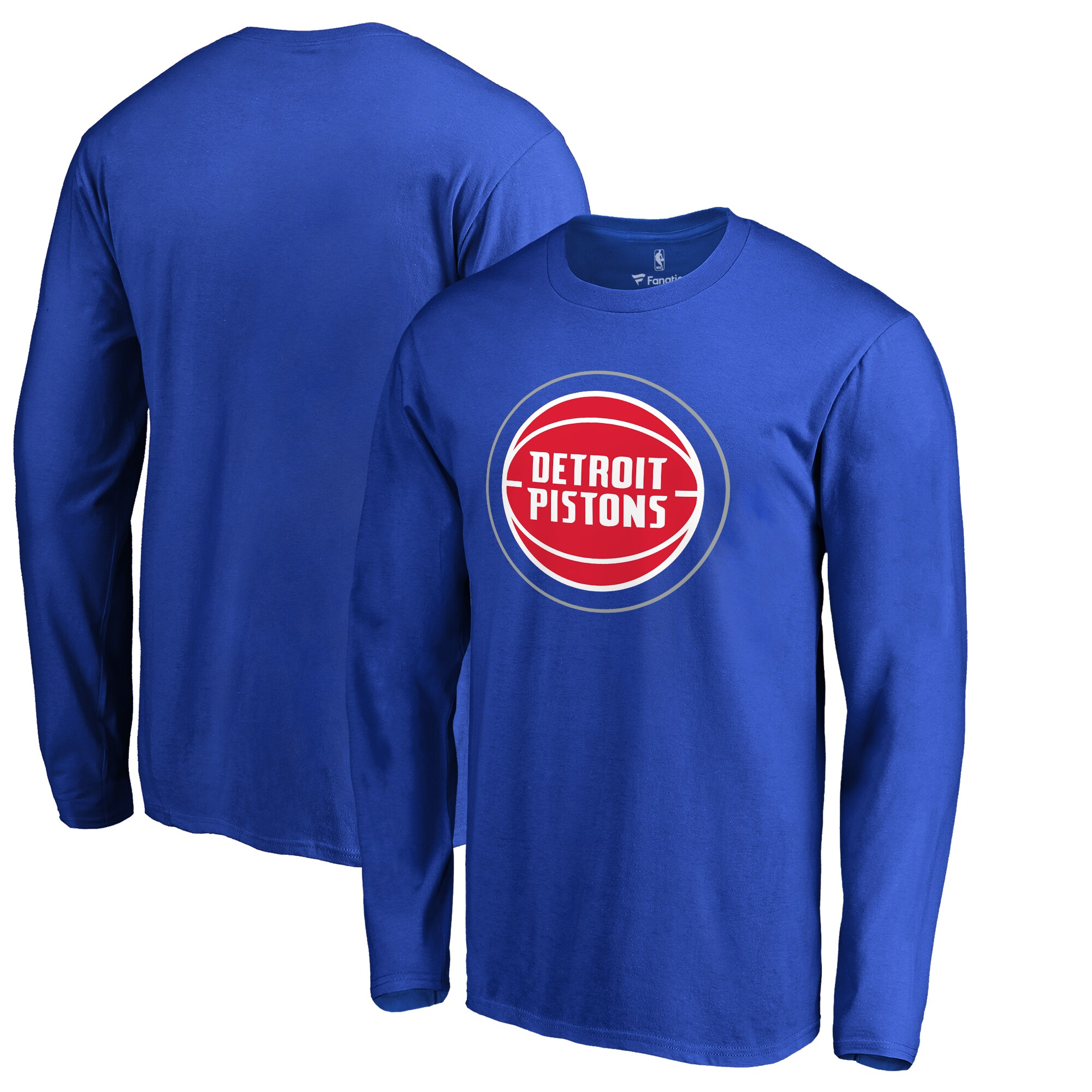 Detroit Pistons Fanatics Branded Big & Tall Primary Logo Long Sleeve T-Shirt - Blue