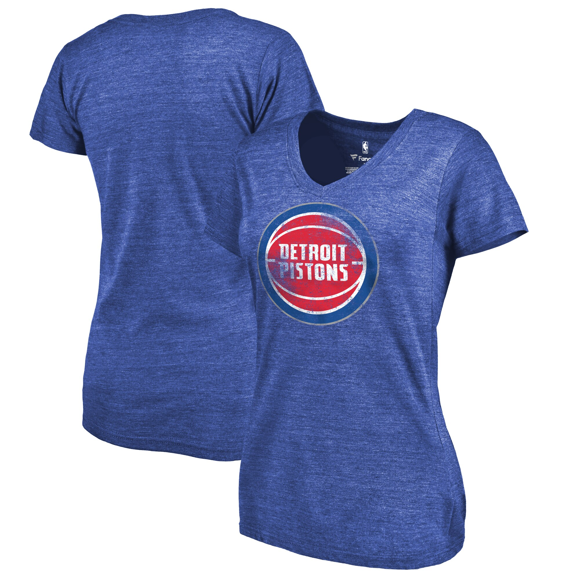 Detroit Pistons Fanatics Branded Women's Distressed Logo Tri-Blend V-Neck T-Shirt - Blue