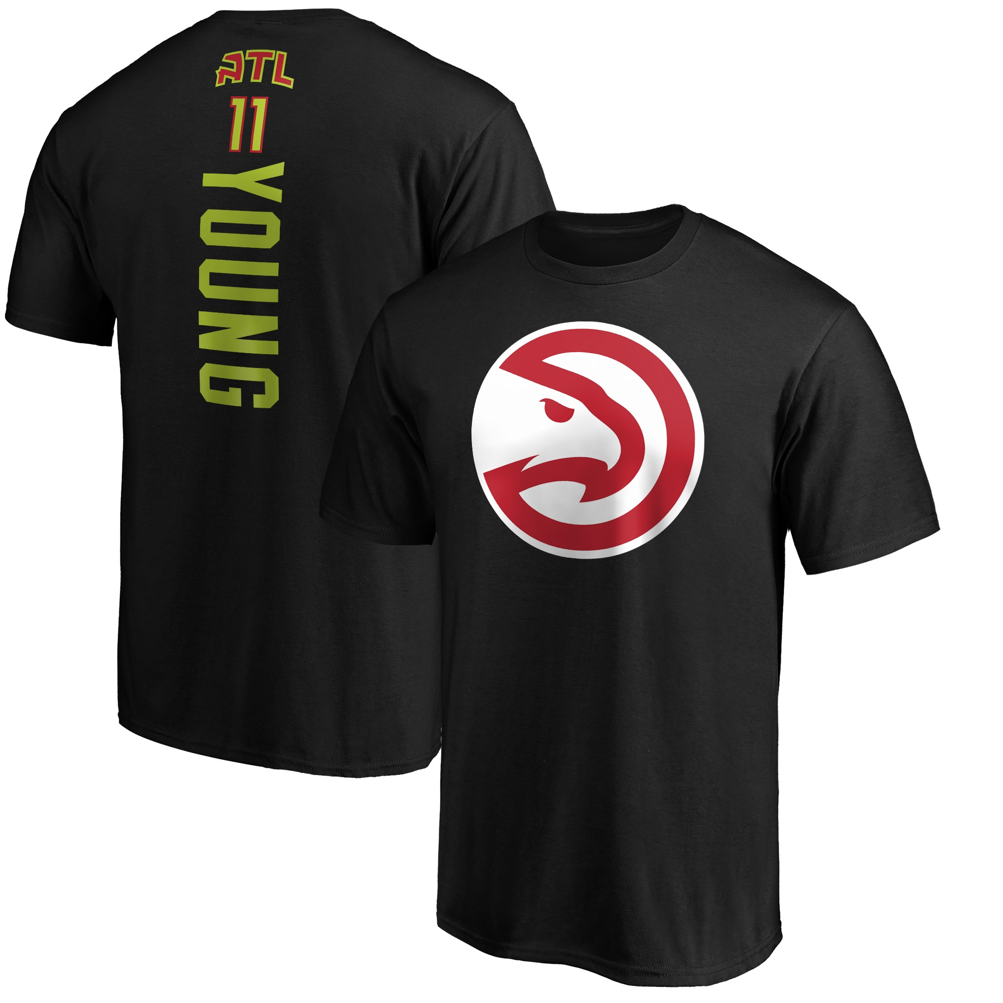 Trae Young Atlanta Hawks Fanatics Branded Team Playmaker Name & Number T-Shirt - Black