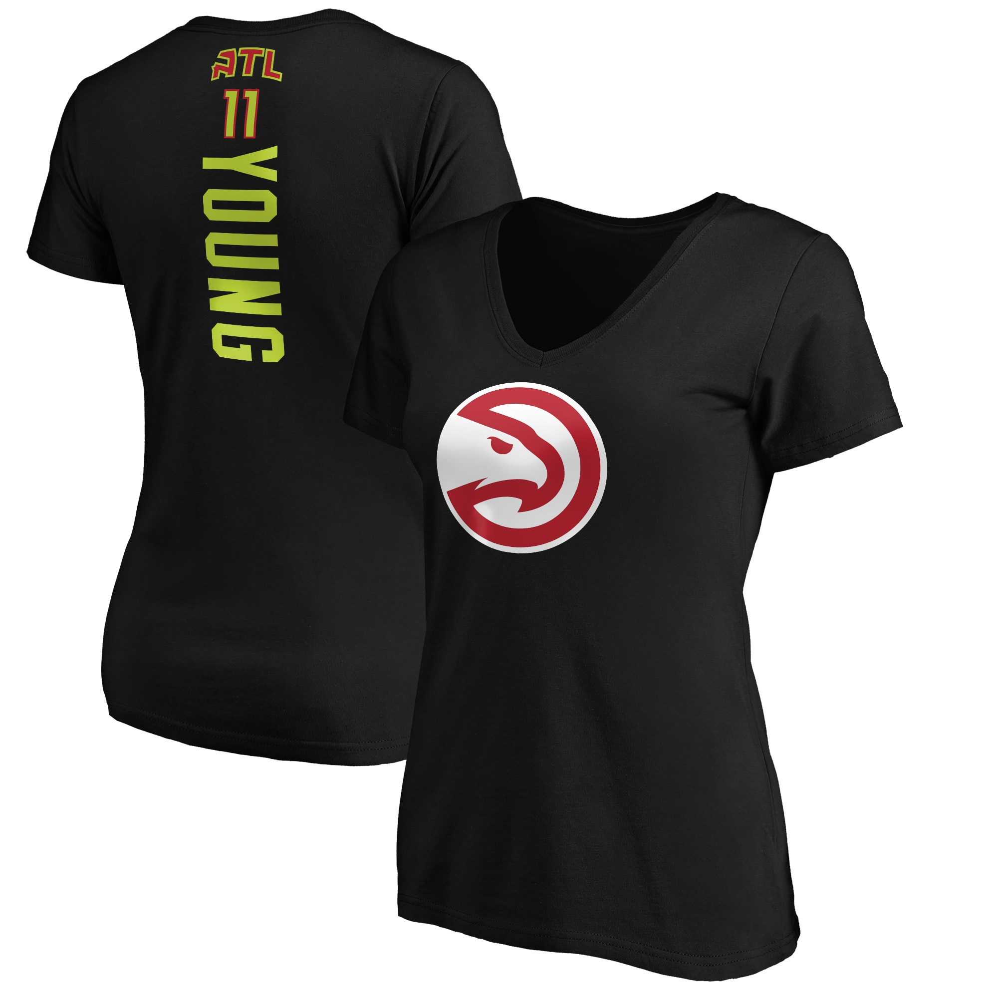 Trae Young Atlanta Hawks Fanatics Branded Women's Playmaker Name & Number V-Neck T-Shirt - Black