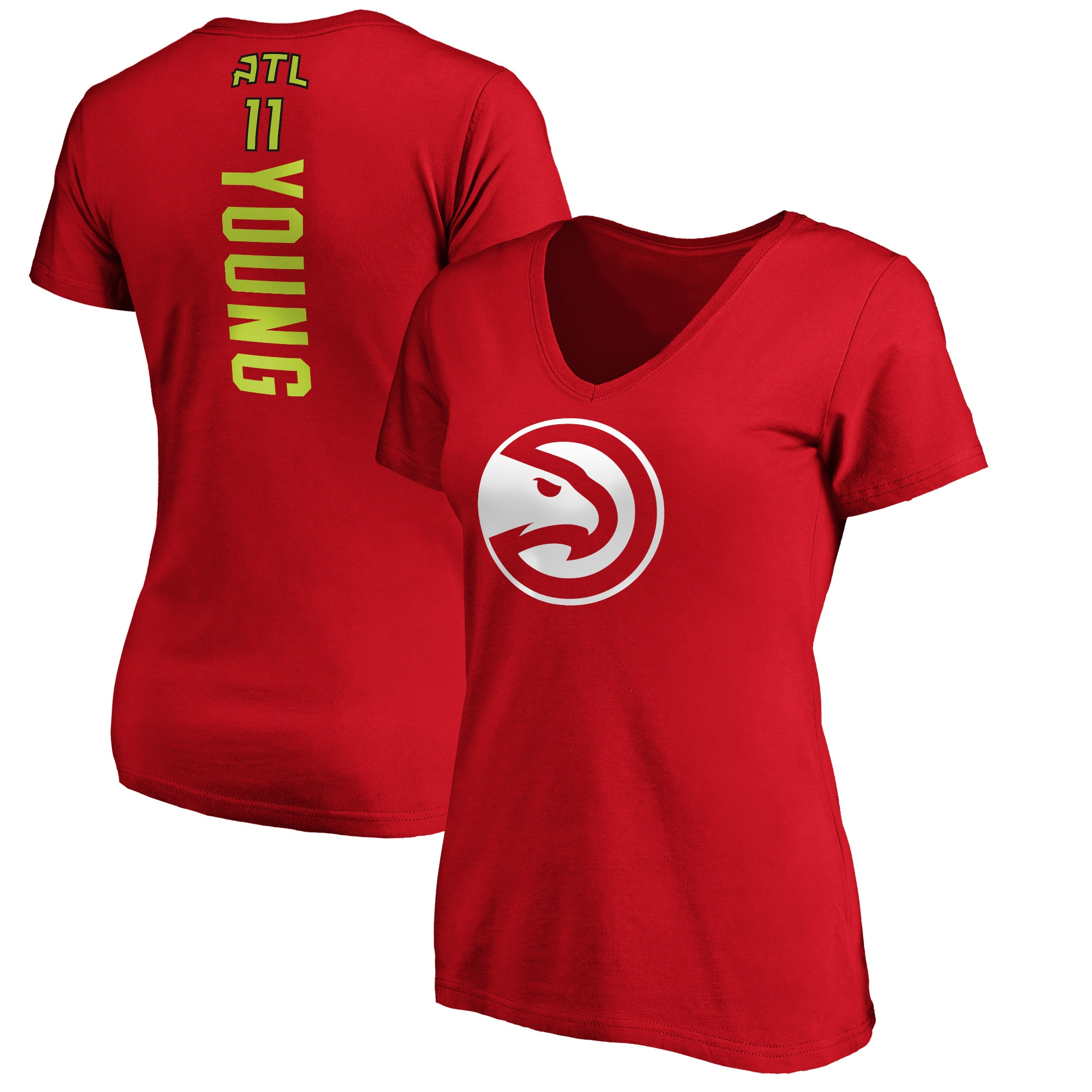 Trae Young Atlanta Hawks Fanatics Branded Women's Playmaker Name & Number V-Neck T-Shirt - Red