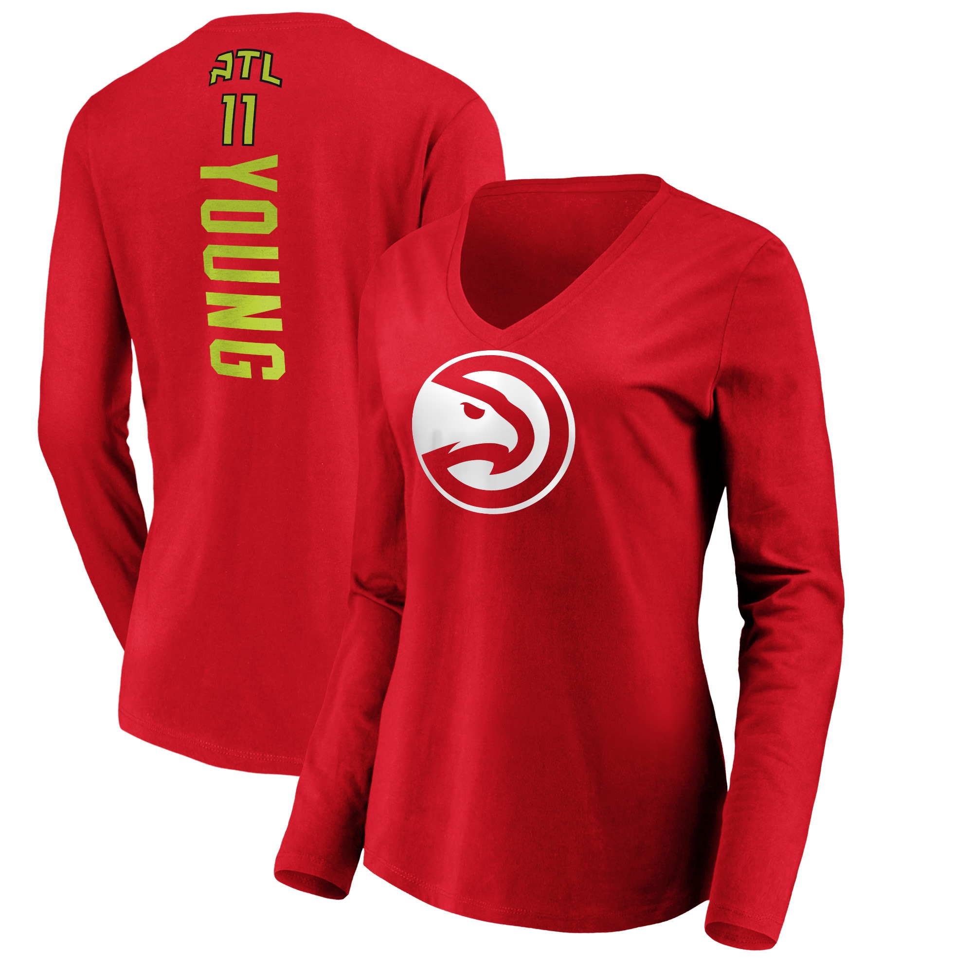 Trae Young Atlanta Hawks Fanatics Branded Women's Playmaker Name & Number Long Sleeve V-Neck T-Shirt - Red