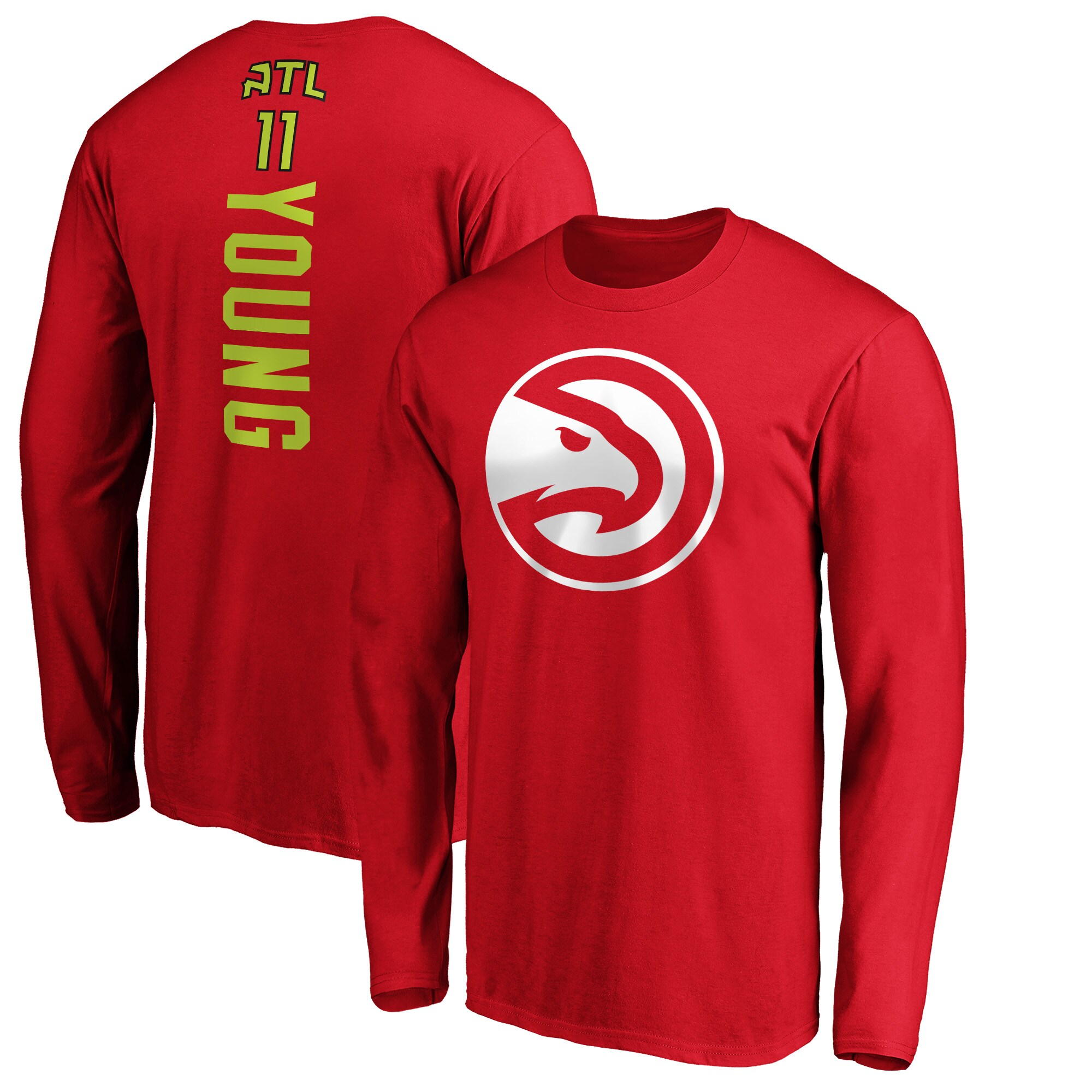 Trae Young Atlanta Hawks Fanatics Branded Playmaker Name & Number Long Sleeve T-Shirt - Red