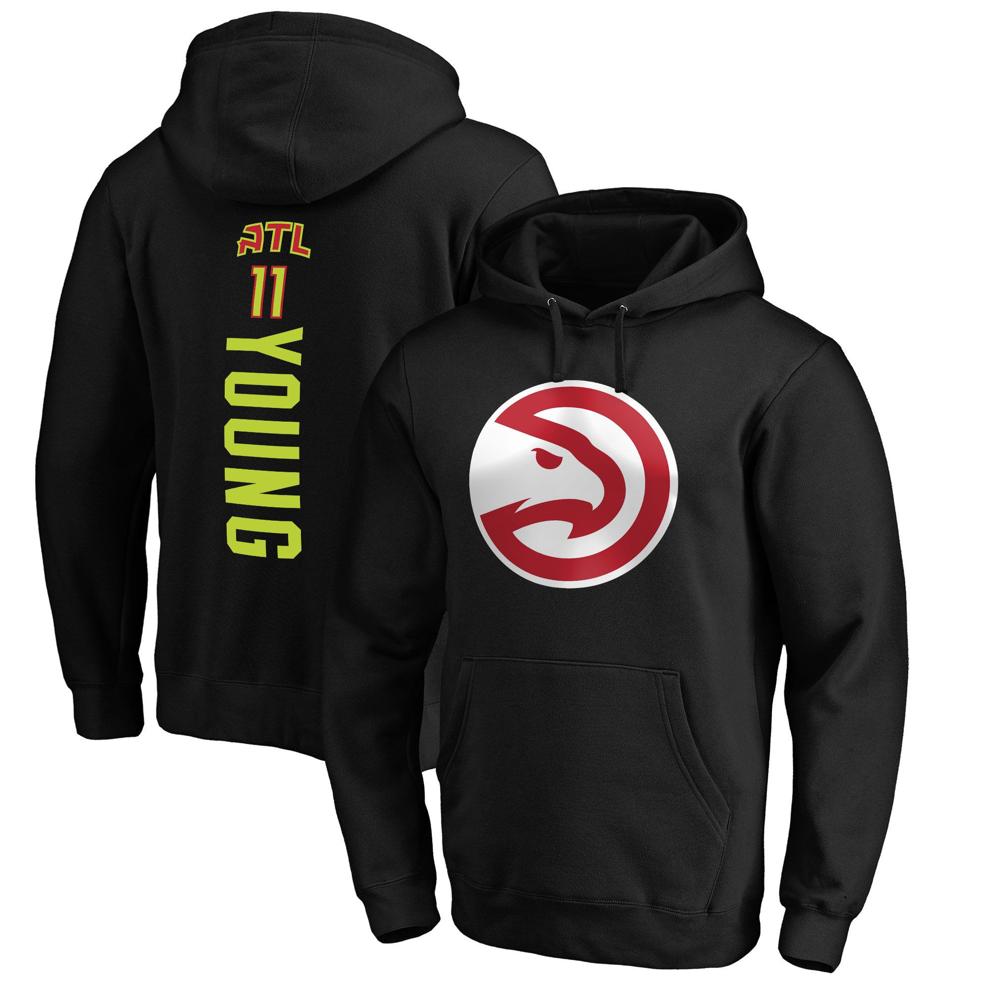 Trae Young Atlanta Hawks Fanatics Branded Playmaker Name & Number Pullover Hoodie - Black