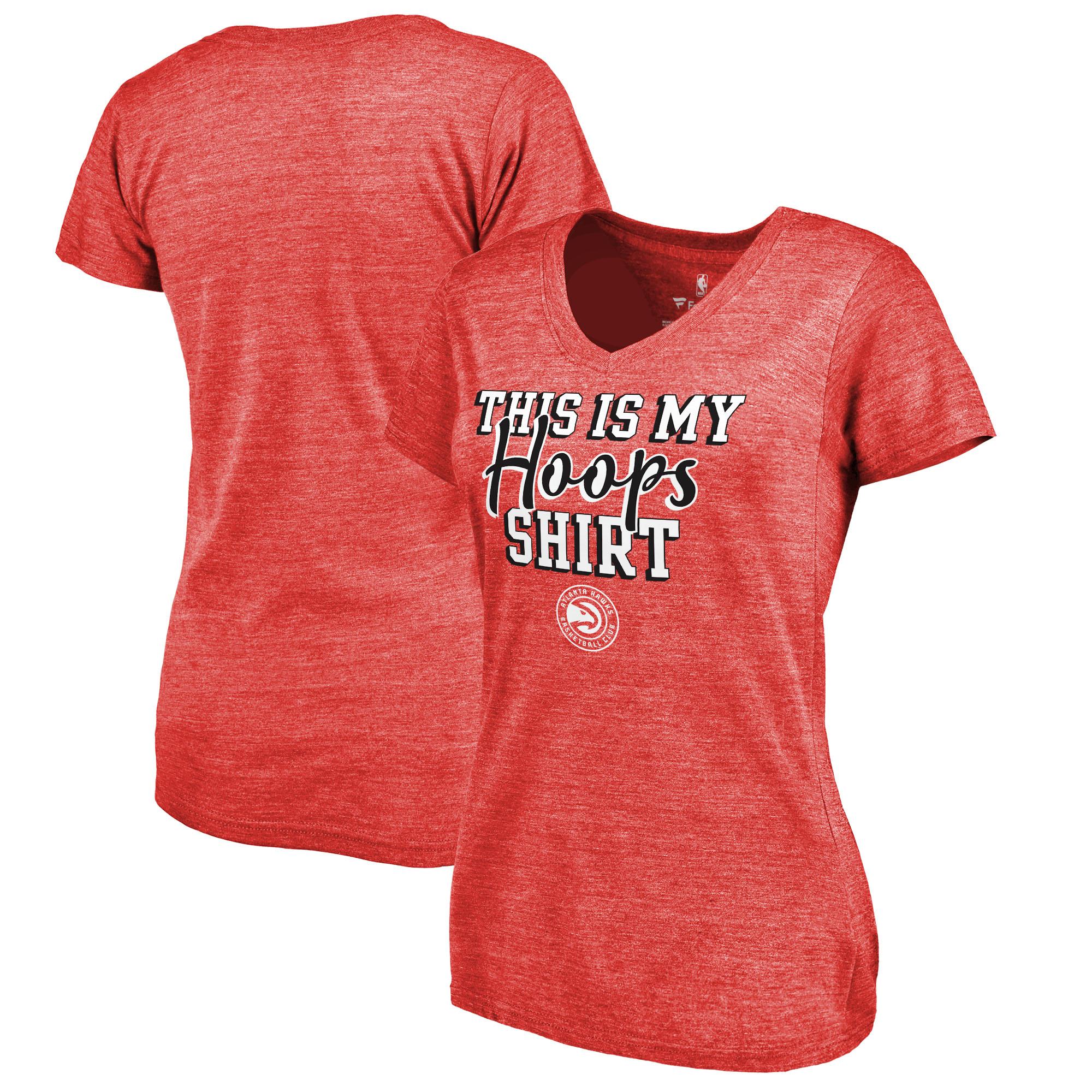 Atlanta Hawks Fanatics Branded Women's Air Tri-Blend V-Neck T-Shirt - Red