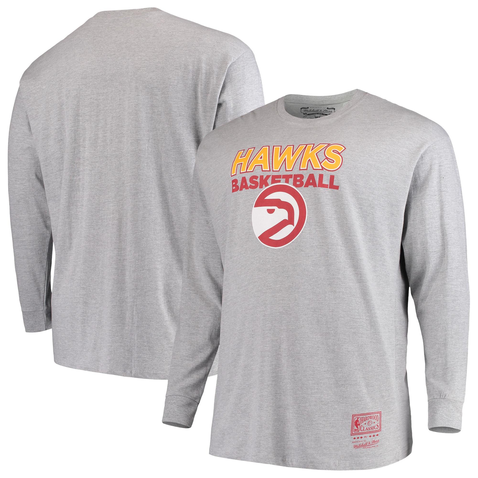 Atlanta Hawks Mitchell & Ness Hometown Classics Big & Tall Thowback Logo Long Sleeve T-Shirt - Heathered Gray