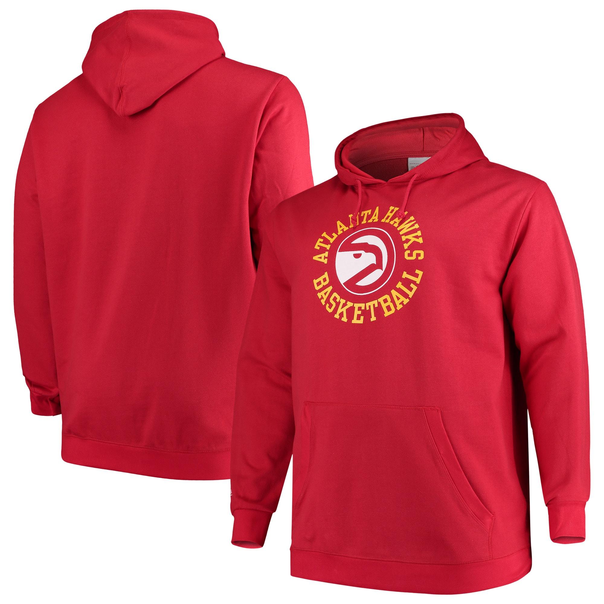 Atlanta Hawks Mitchell & Ness Big & Tall Throwback Logo Pullover Hoodie - Red