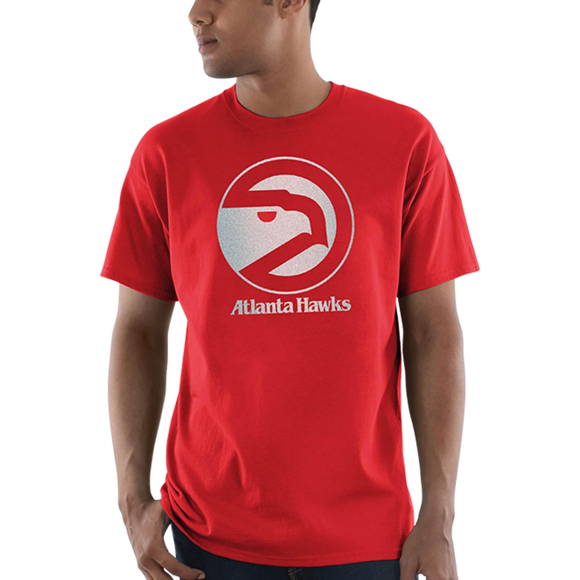 Atlanta Hawks Majestic Throwback Logo Reflective Tek Patch T-Shirt - Red