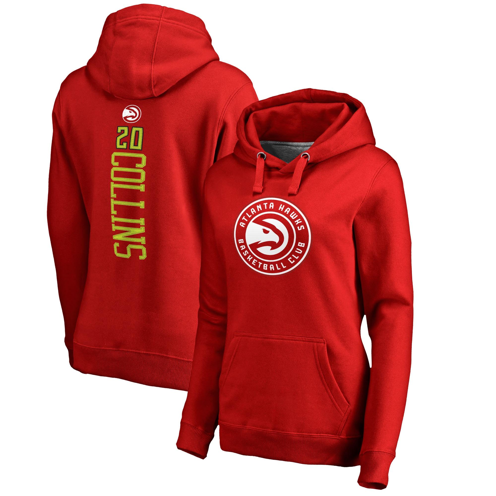 John Collins Atlanta Hawks Fanatics Branded Women's Backer Pullover Hoodie - Red