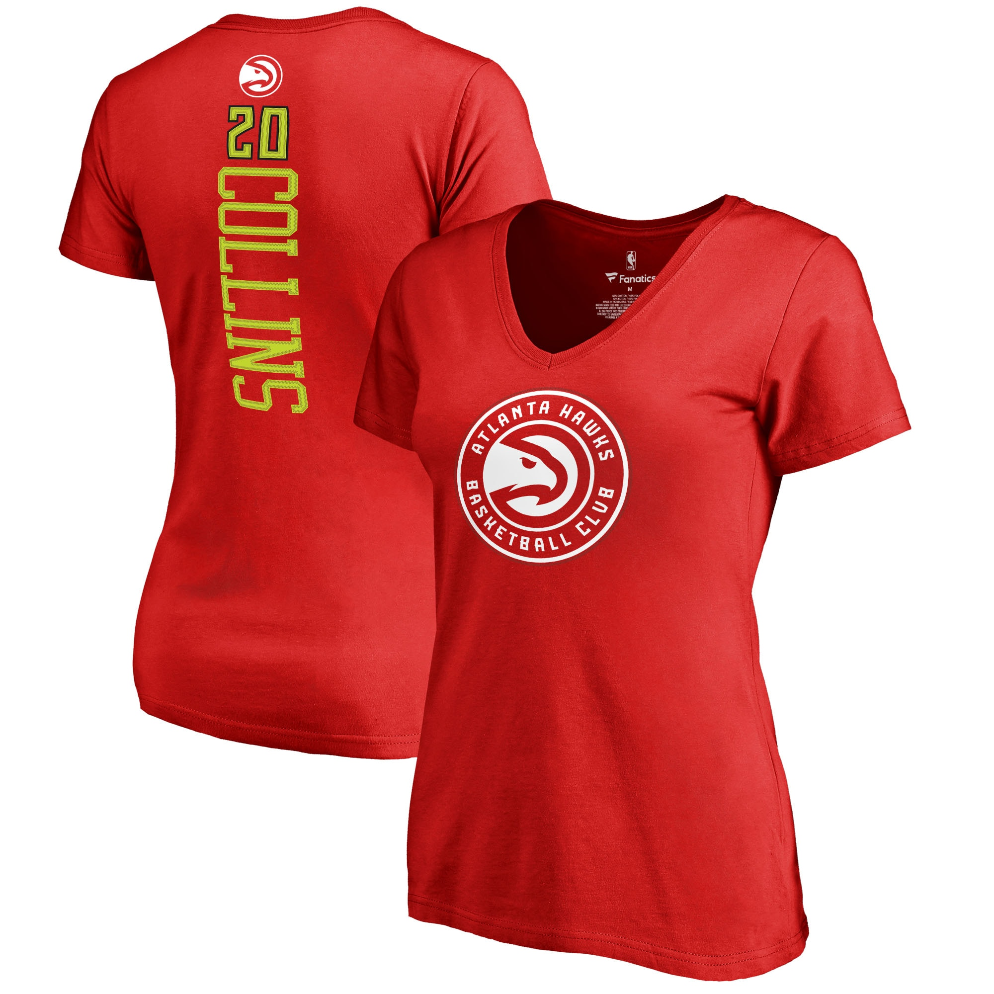 John Collins Atlanta Hawks Fanatics Branded Women's Backer V-Neck T-Shirt - Red