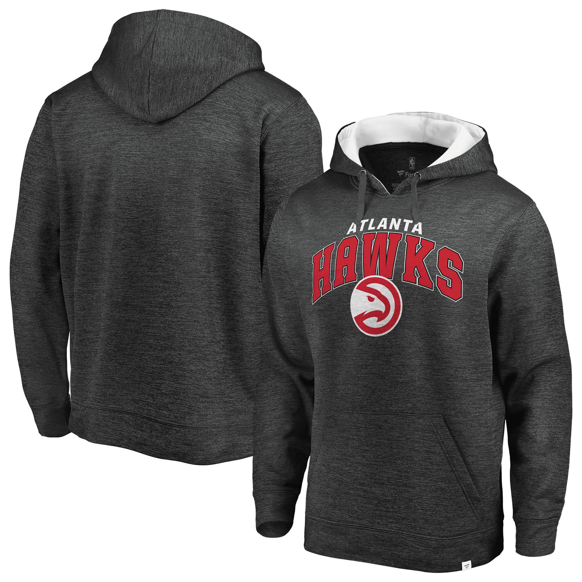 Atlanta Hawks Fanatics Branded Big & Tall Steady Fleece Pullover Hoodie - Gray/White